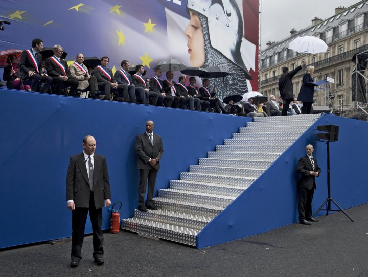 French far-right leader Marine Le Pen speaking to thousands of people at her party's annual march to vote in European parliamentary elections this month to give her a platform for her anti-European Union cause.