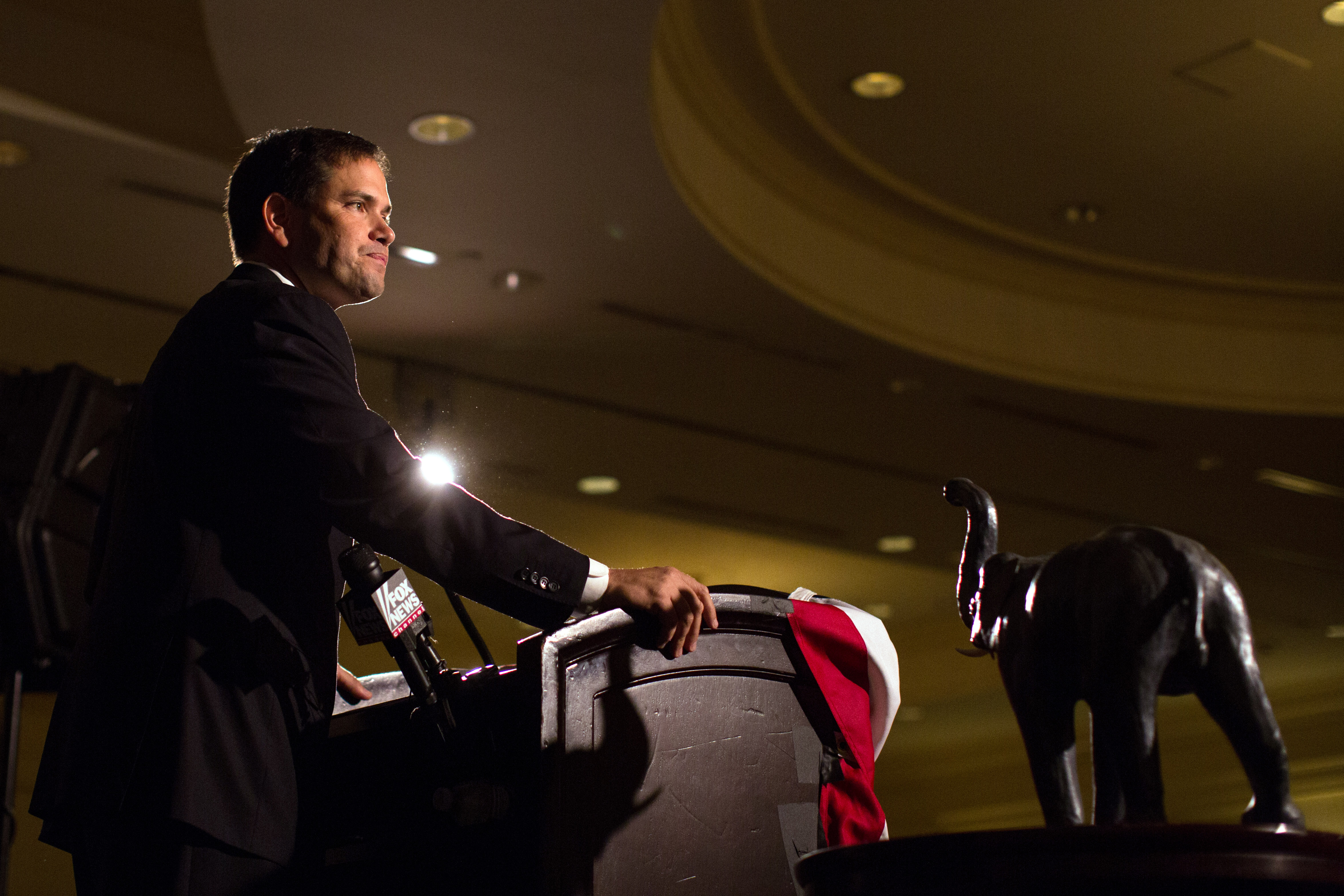 Senator Marco Rubio addresses the New Hampshire Rockingham Committee Freed Founder's Dinner in New Castle, N.H., on May 9, 2014.