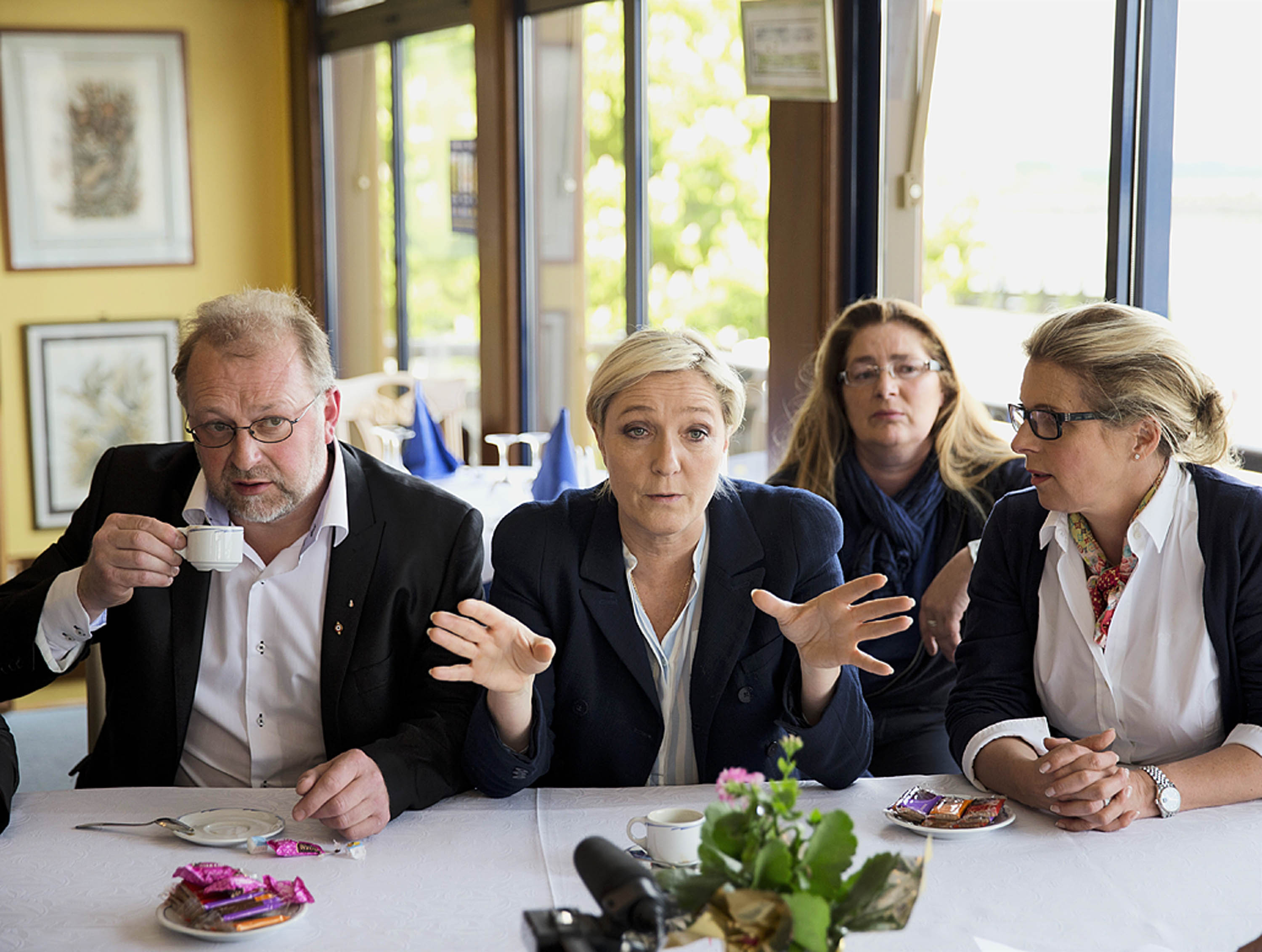 Euroskeptic France's far-right National Front party, headed by Marine Le Pen, second from left, was a big winner in the E.U. elections .