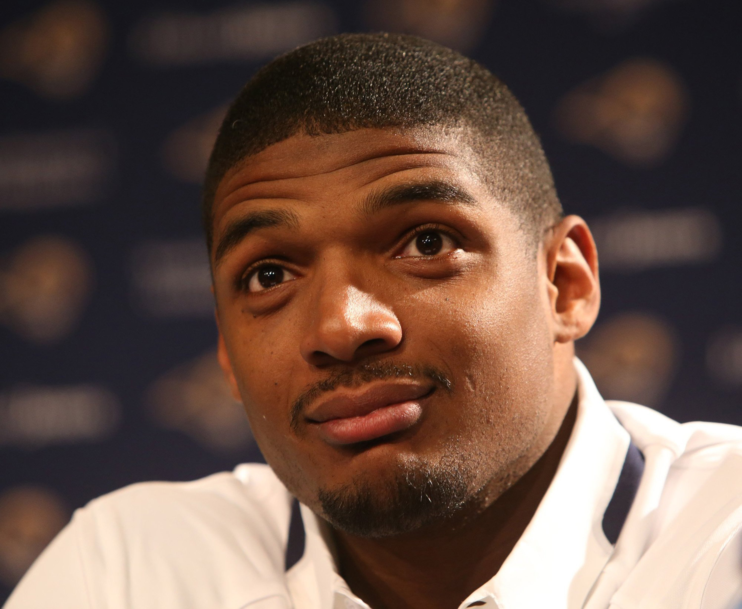 St. Louis Rams defensive end Michael Sam attends an introductory press conference at Rams Park in Earth City, Mo. on May 13, 2014.