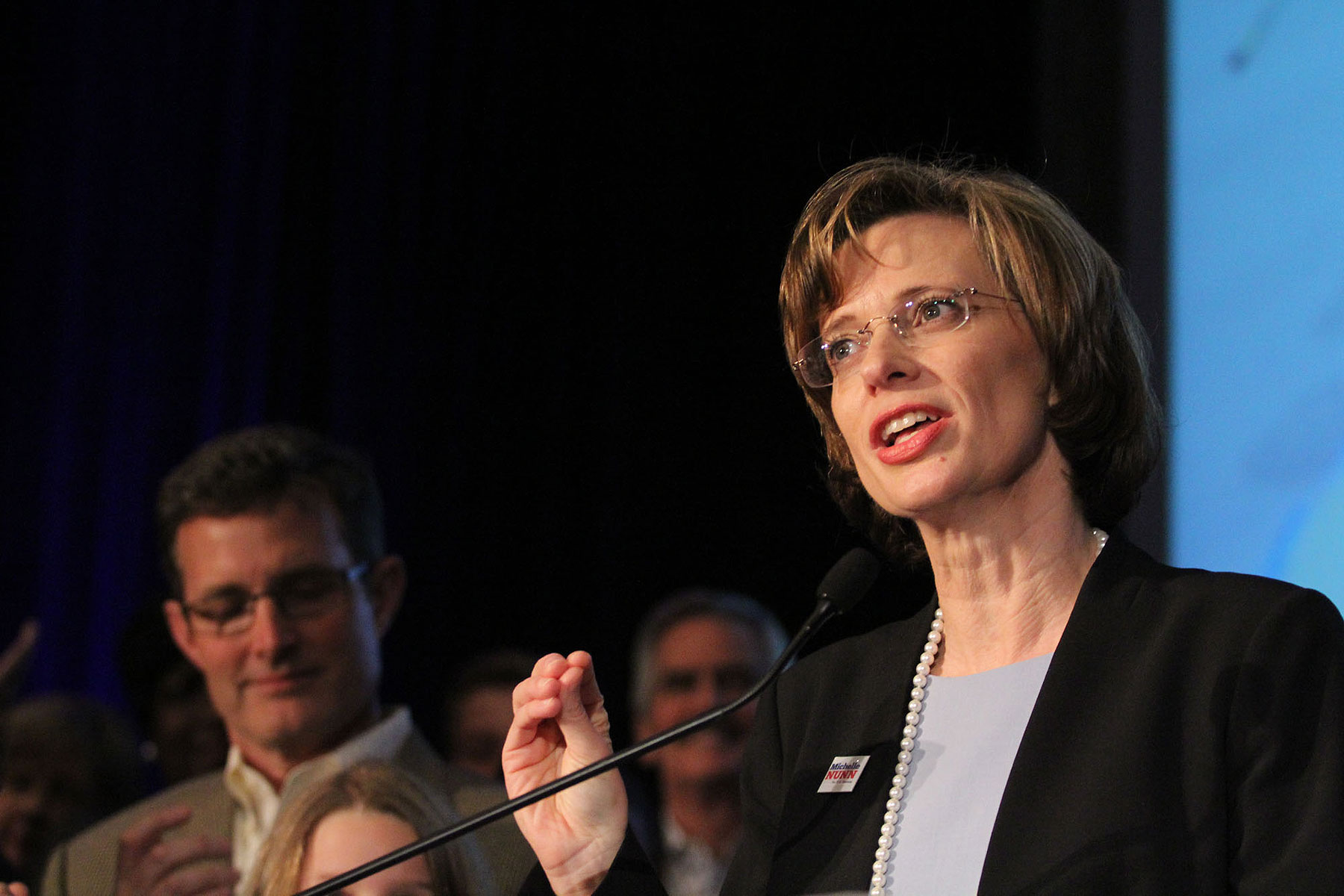 Michelle Nunn speaks to her supporters after winning the Democratic primary for Georgia Senate on May 20, 2014.