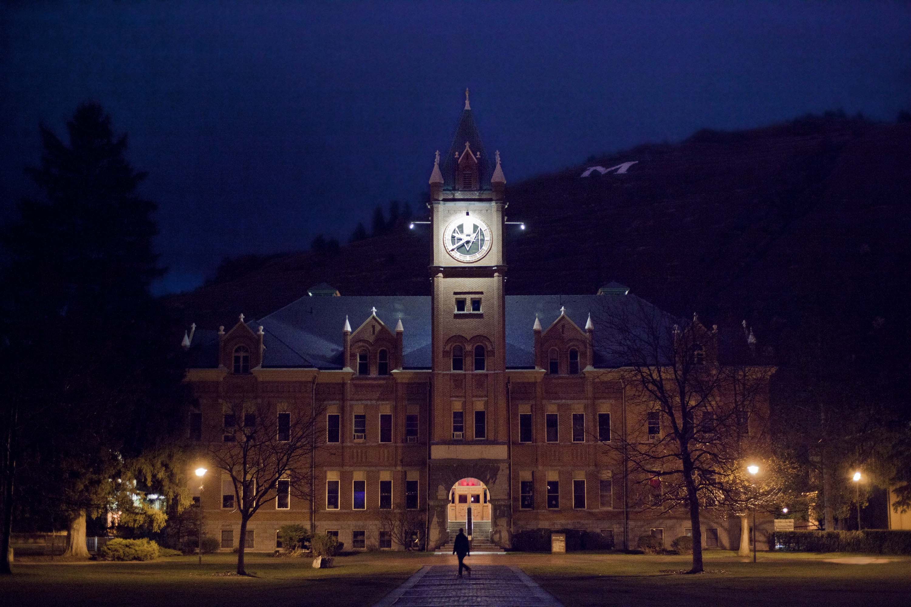 Under a spotlight University Hall at the University of Montana in Misssoula