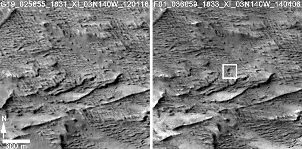 From left: An image taken on Jan. 16, 2012 compared with the image taken on April 6, 2014 confirms that two adjacent fresh craters appeared during that interval.