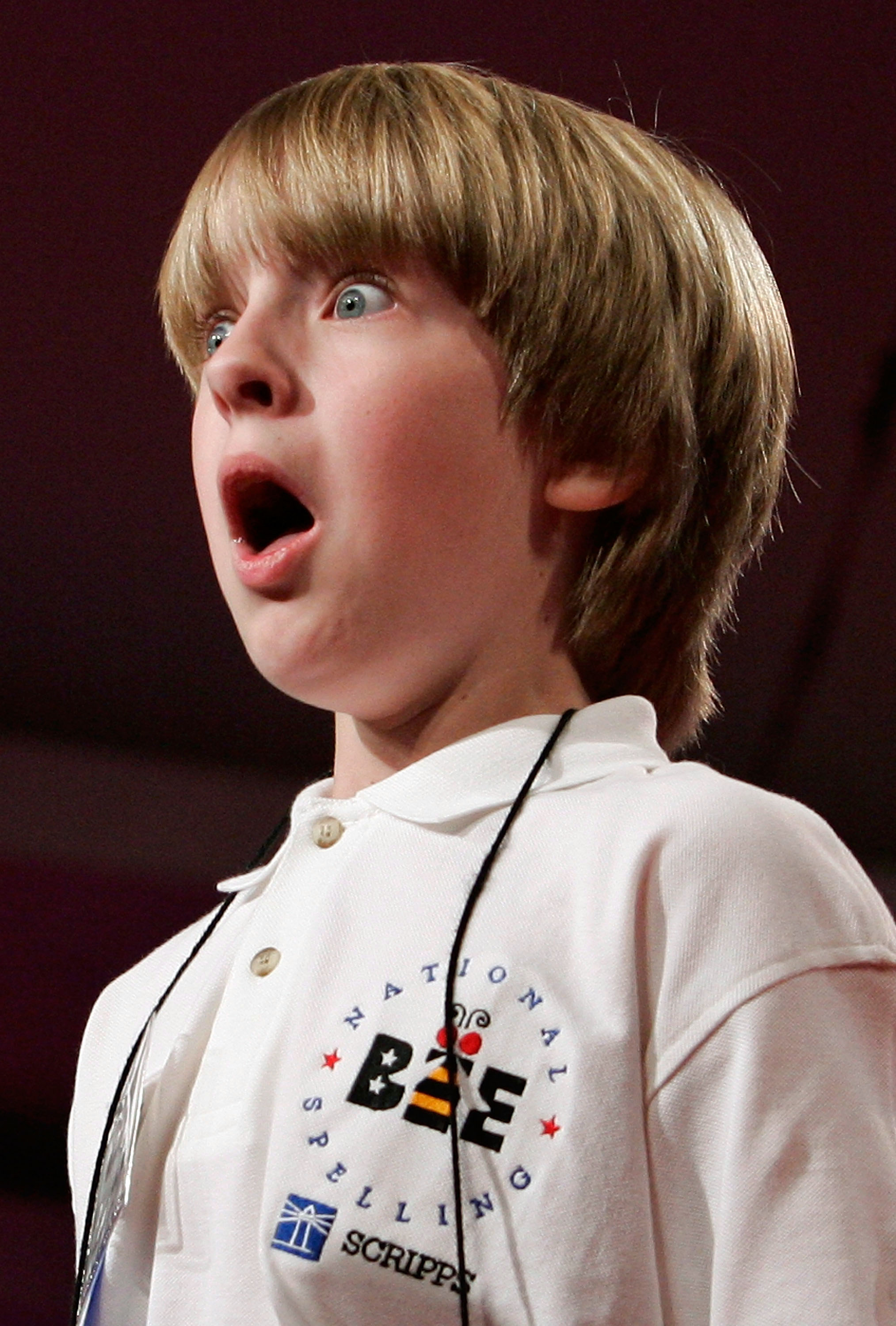 "Andrew Lay of Stanley, N.C. reacts after he correctly spelled the word ""negus"" during the 2007 Scripps National Spelling Bee on May 31, 2007 in Washington."