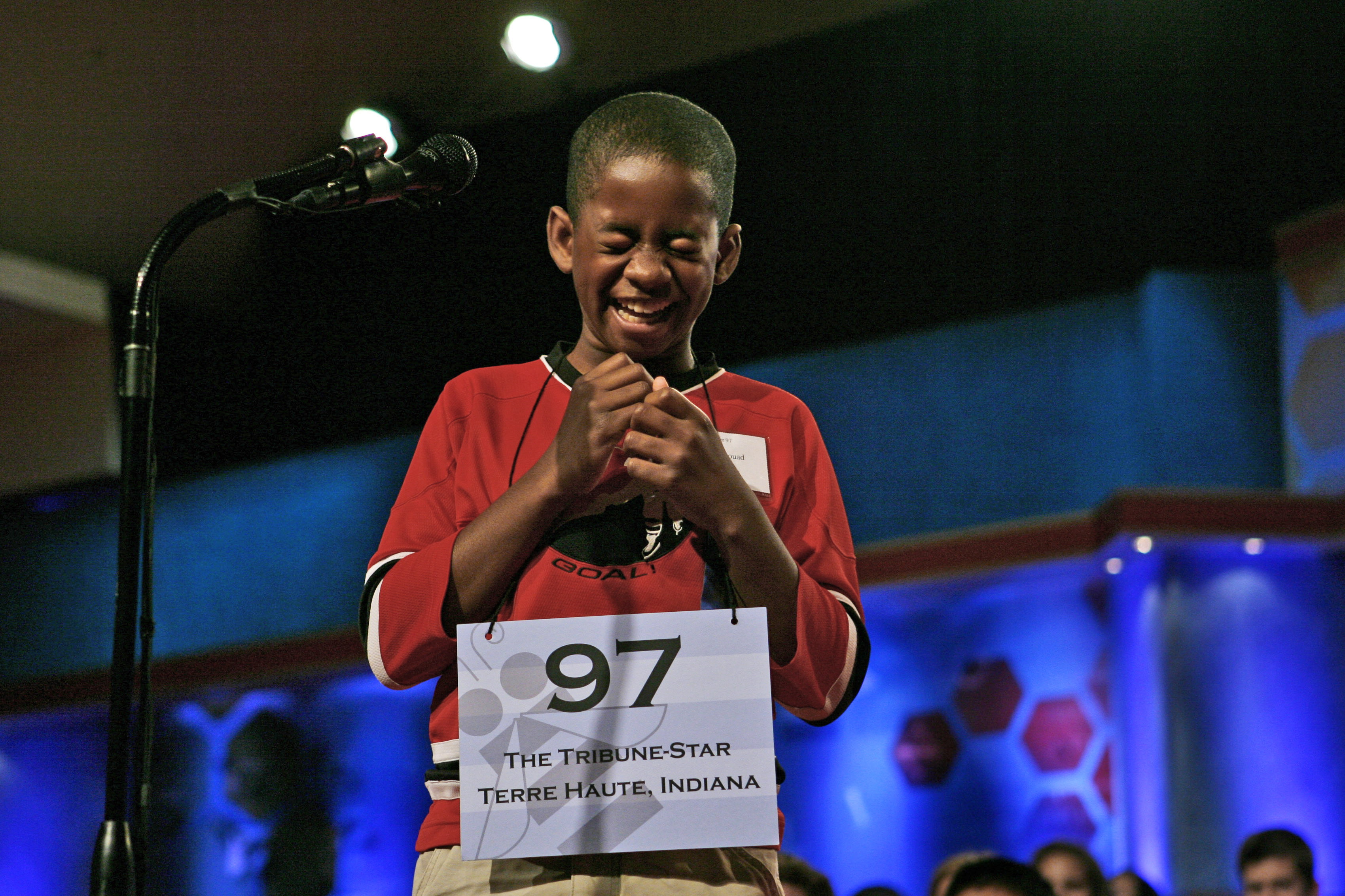 "Kennyi Aouad, 11, of Terre Haute, Ind., bursts into laughter when asked to spell the word, ""sardoodledom,"" in round three of the Scripps National Spelling Bee on Wednesday, May 30, 2007 in Washington."