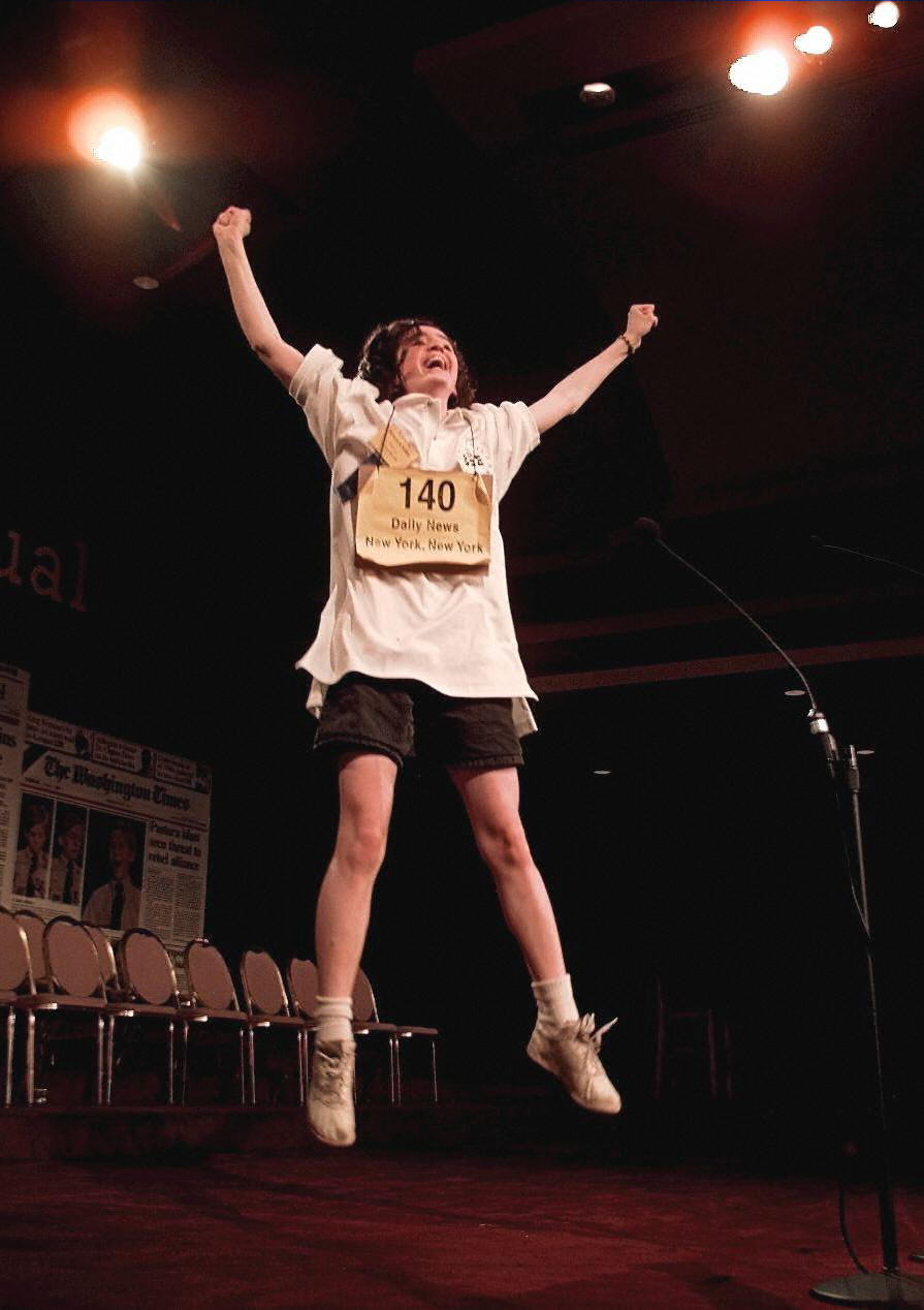 Rebecca A. Sealfon, a 13-year-old eighth grade student from Brooklyn, N.Y. celebrates her win in the 70th Annual Scripps Howard National Spelling Bee  on May 29, 1997 in Washington.