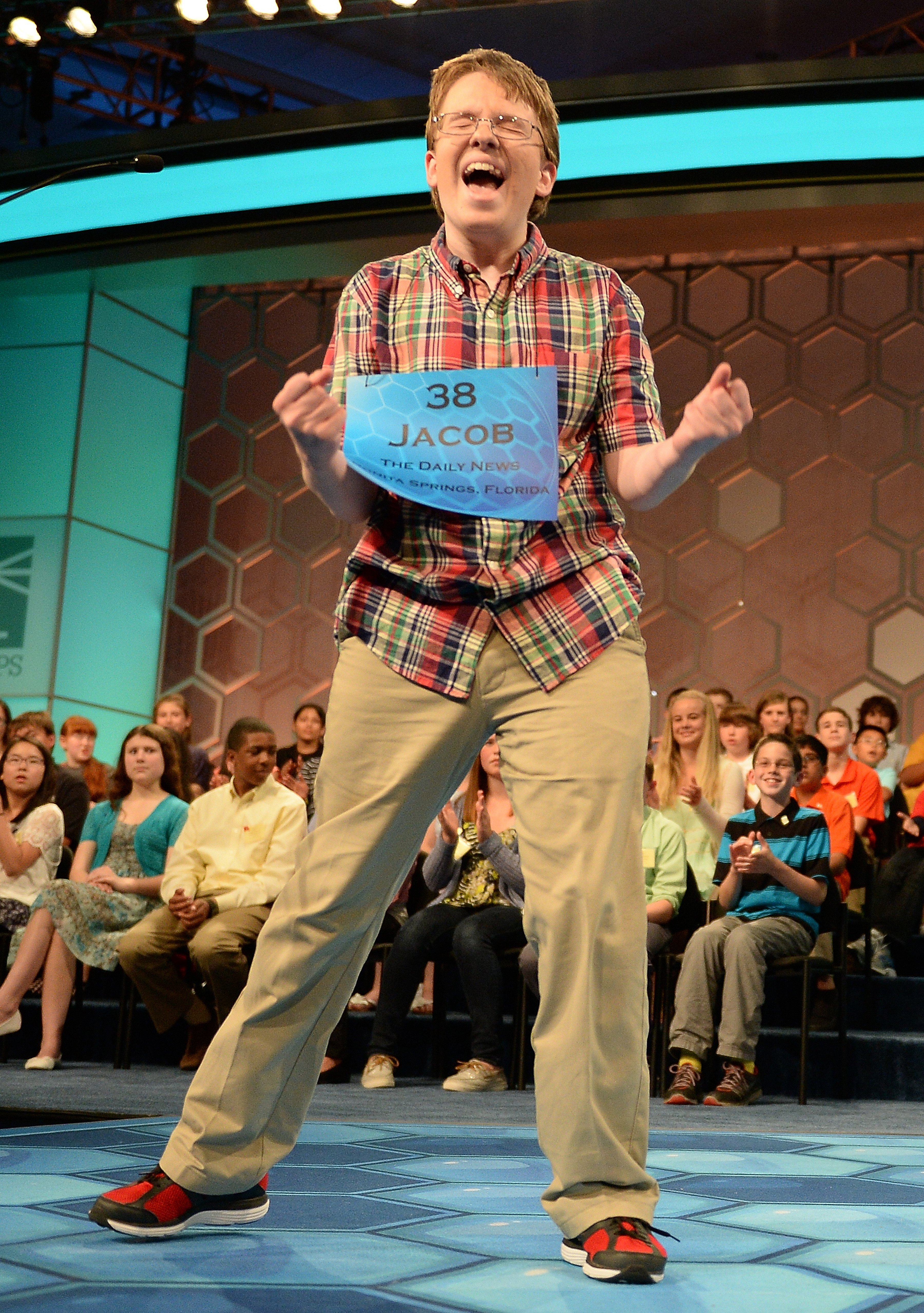 Speller Jacob Williamson, of Cape Coral, Fla., competes in the finals of the 2014 Scripps National Spelling Bee in National Harbor, Md. on May 29, 2014.