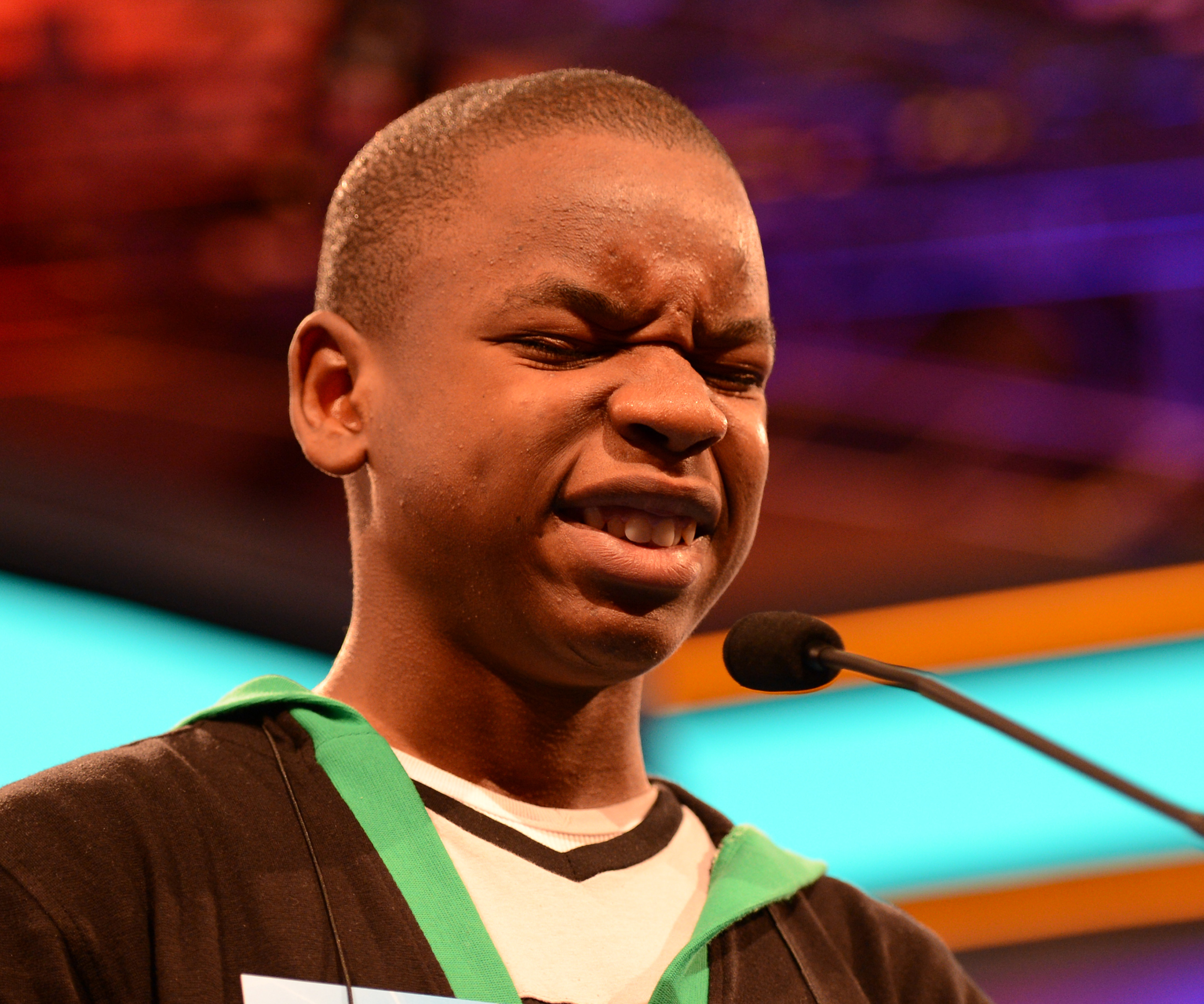 "Grifton Wright, of Jamaica, grimaces after misspelling ""ericeticolous"" during the final rounds of the Scripps National Spelling Bee on May 31, 2012 in in National Harbor, Md."