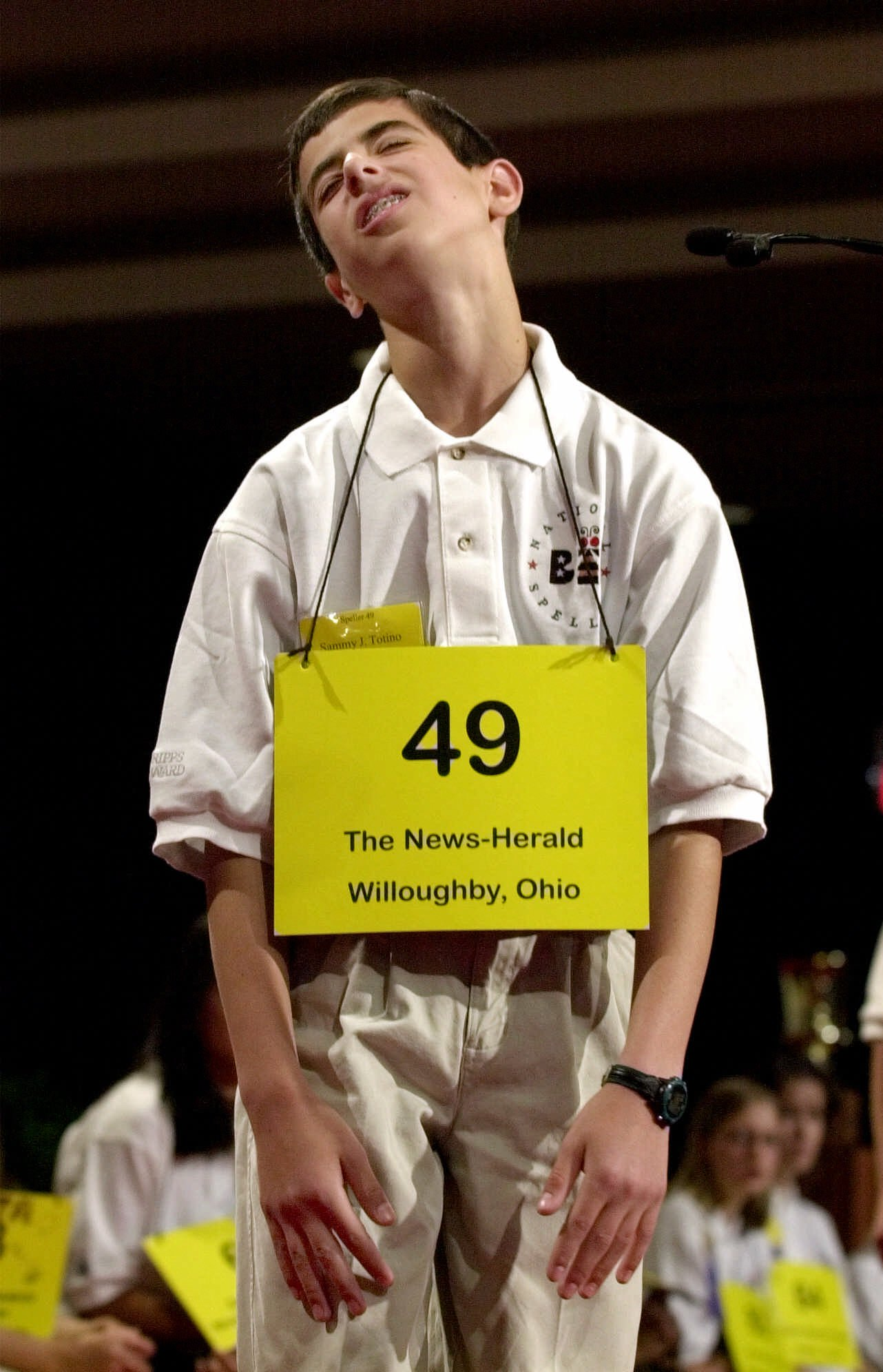 "Sammy Totino, 14, of Chesterland, Ohio, reacts after misspelling the word ""ocarina"" during the 74th annual National Spelling Bee on May 31, 2001 in Washington."