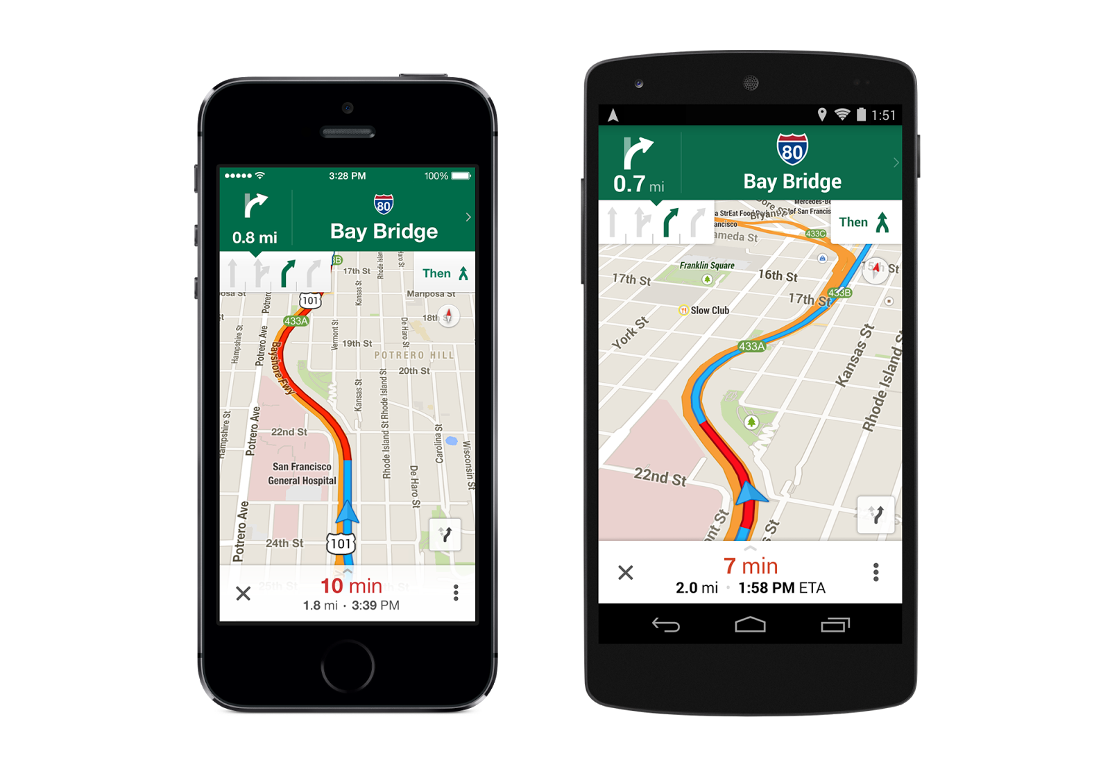 Google's Maps app features GPS lane guidance
