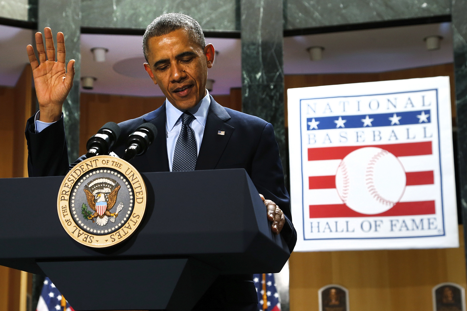 U.S. President Barack Obama delivers remarks at the National Baseball Hall of Fame in Cooperstown, New York, May 22, 2014.