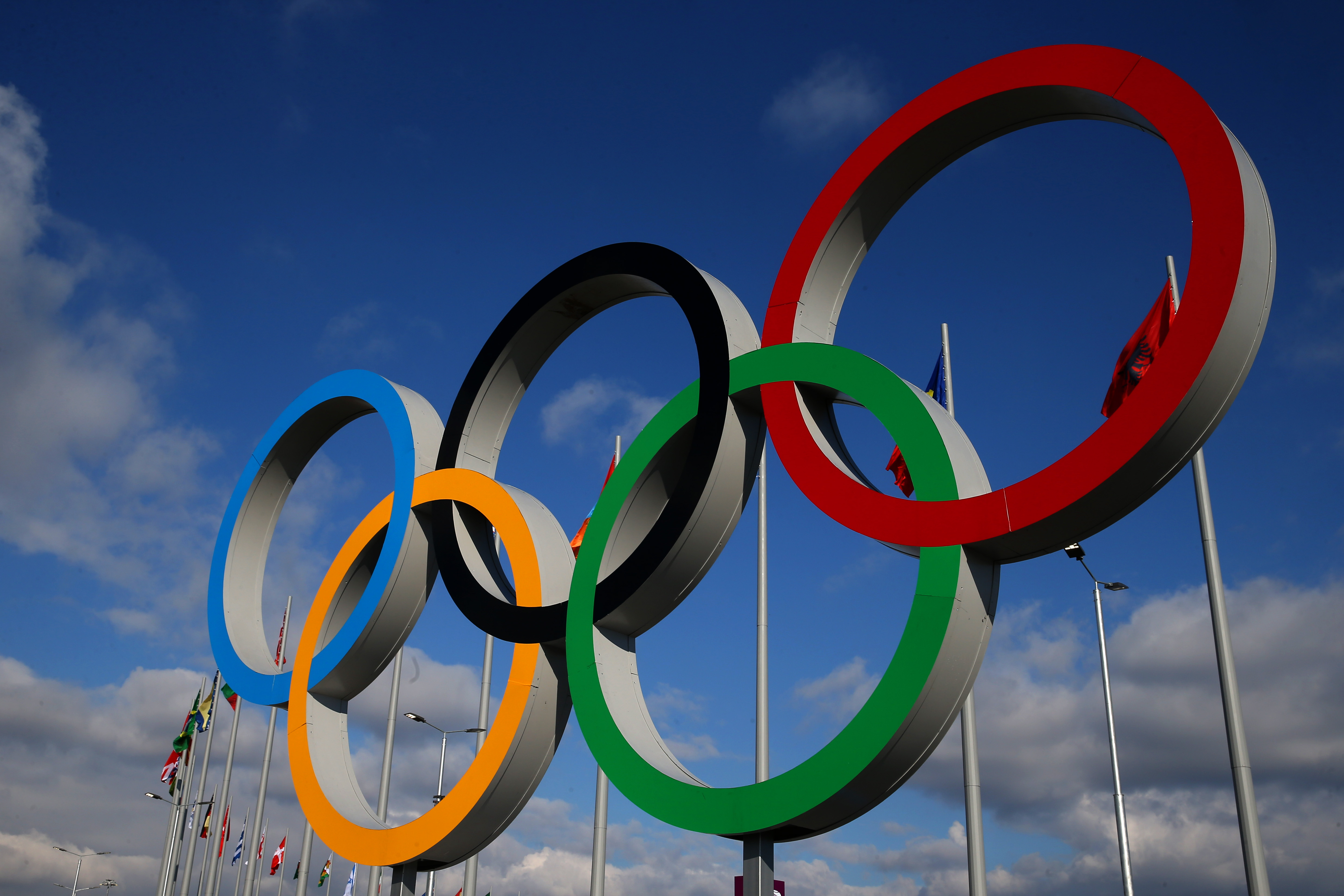 The Olympic rings are displayed ahead of the Sochi 2014 Winter Olympics at the Olympic Park in Sochi, Russia on Feb. 2, 2014.