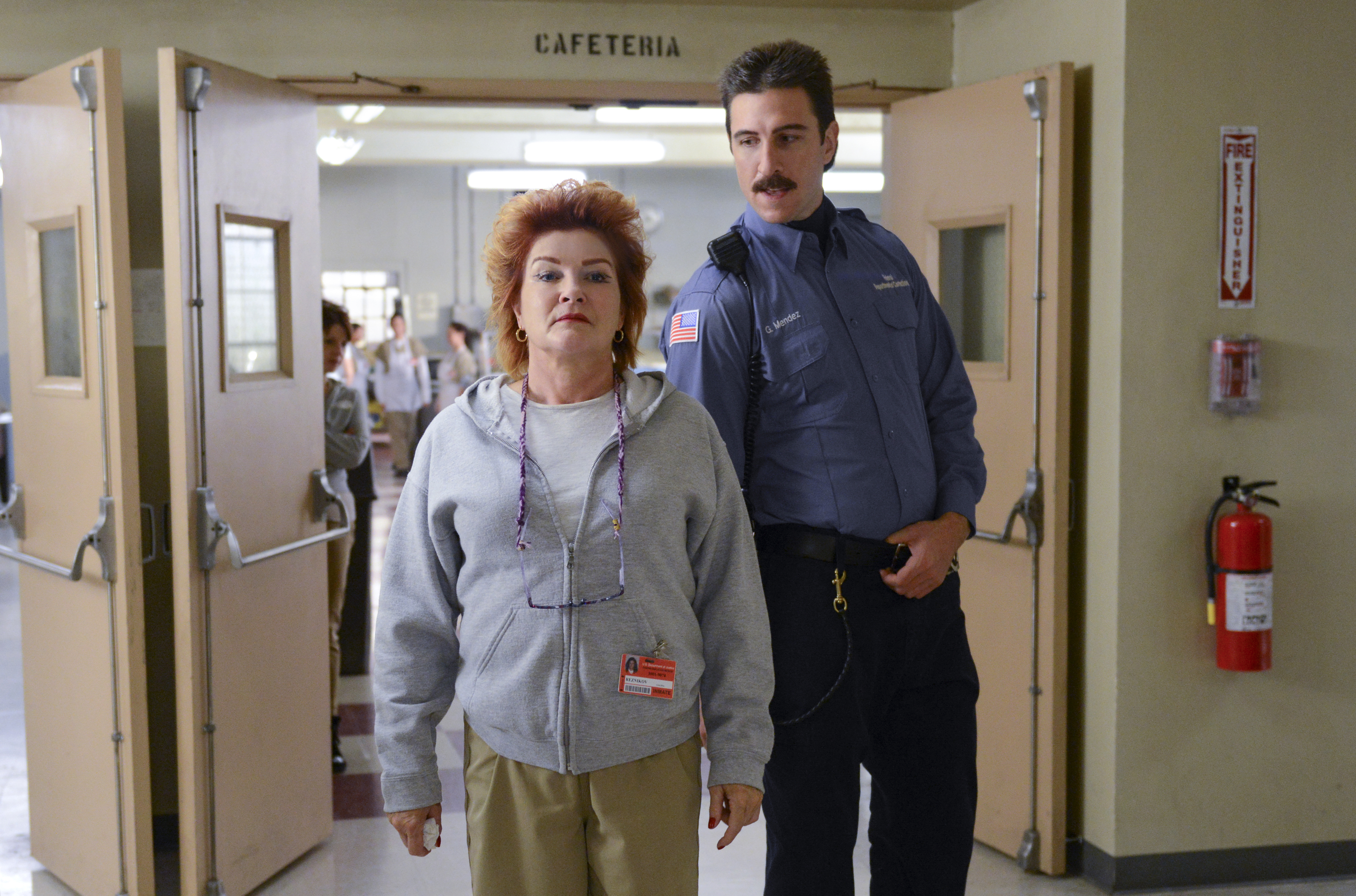 "Kate Mulgrew (L) and Pablo Schreiber (R) in a scene from Netflix's ""Orange is the New Black"" Season 2."