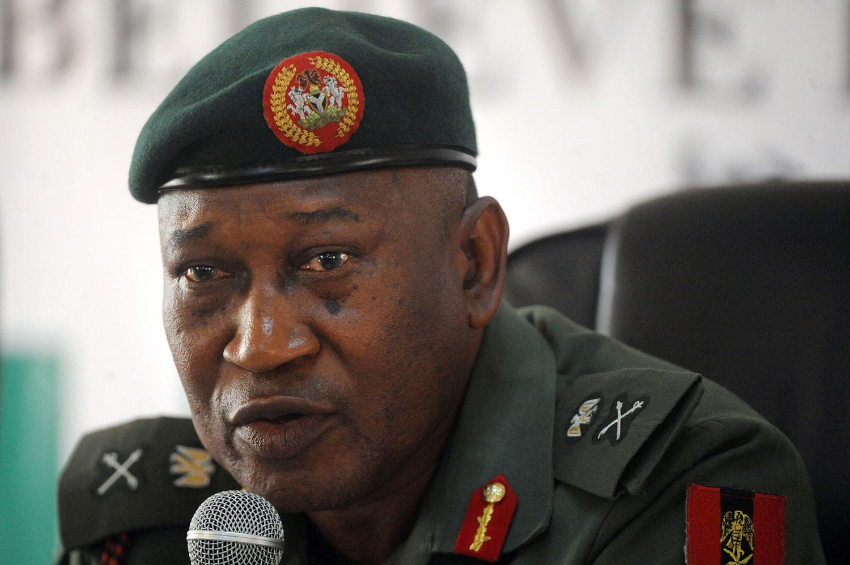 Defence spokesman Major-General Chris Olukolade speaks during a media briefing in Abuja on May 9, 2014.