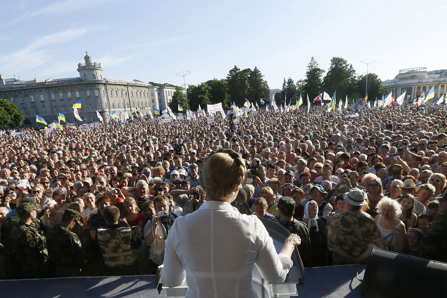 A handout picture taken on May 22, 2014 released by the Yulia Tymoshenko's press office shows Ukrainian presidential candidate Yulia Tymoshenko giving a speech during an election campaign trip to the northern Ukrainian city of Chernigiv.