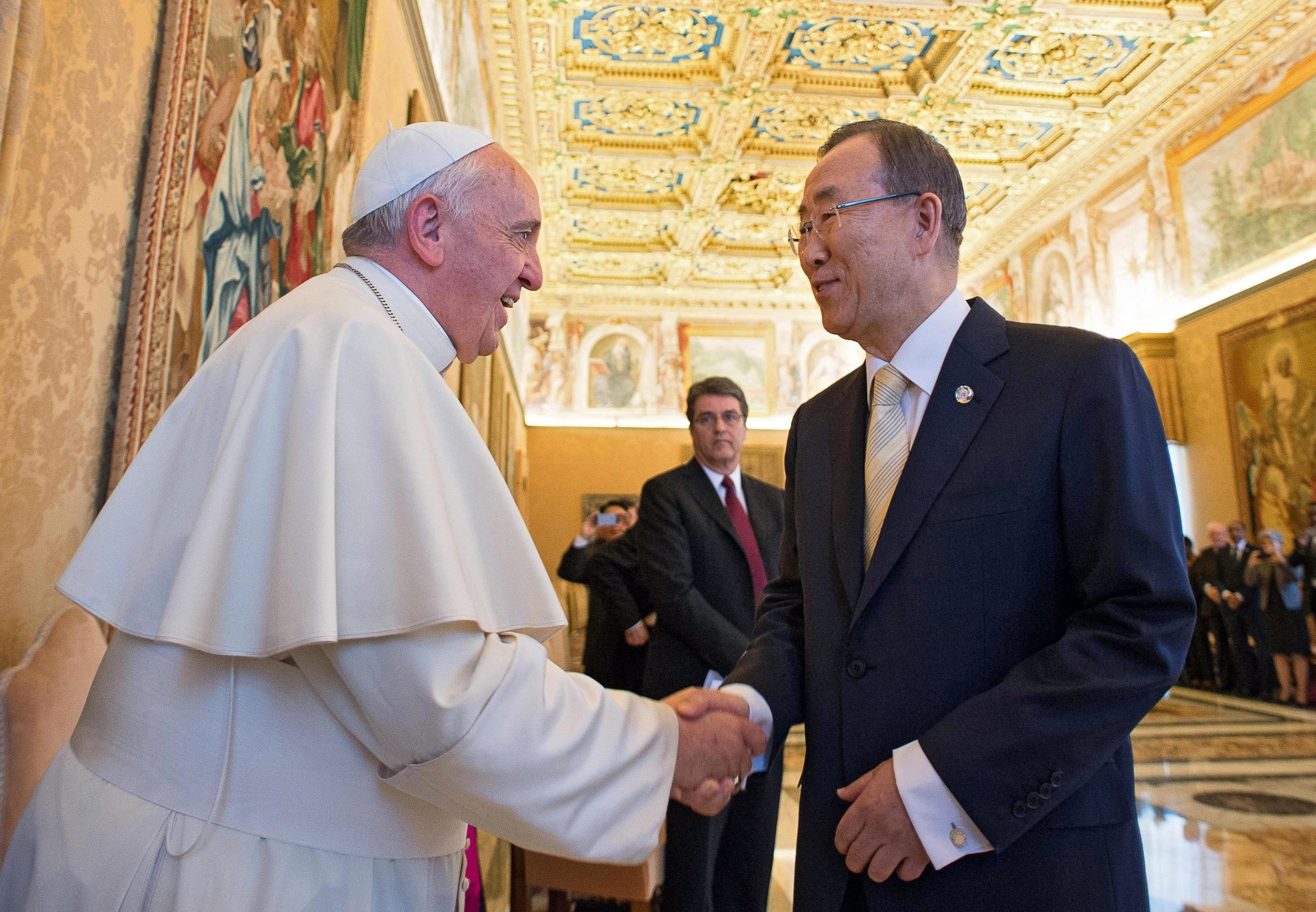 Pope Francis meets UN Secretary General Ban Ki-moon and members of UN System Chief Executives Board for the biannual meeting on strategic coordination in the Consistory Hall of the Apostolic Palace in Vatican City on May 9, 2014.