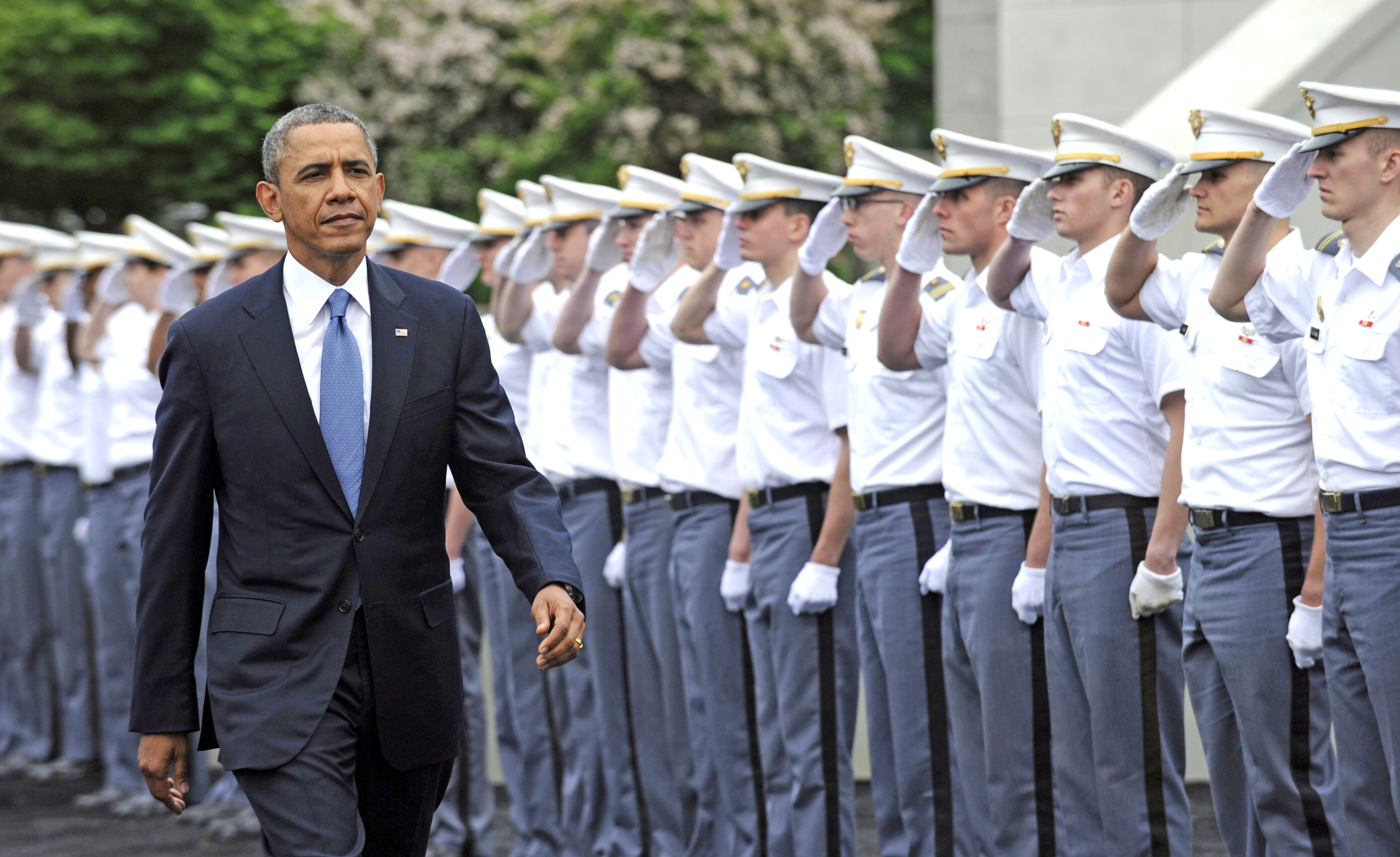 U.S. President Barack Obama arrives to deliver the commencement address to the U.S. Military Academy at West Point's Class of 2014 on May 28, 2014, in West Point, N.Y.
