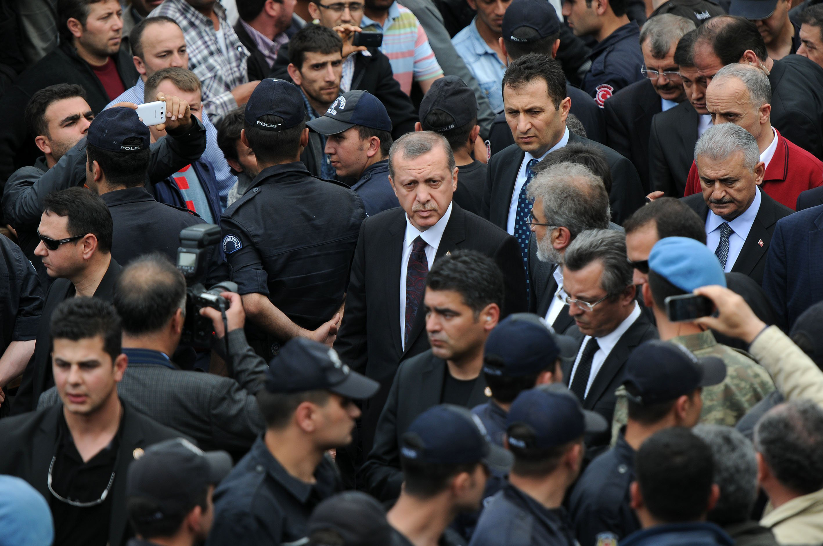 Prime Minister Recep Tayyip Erdogan visits scene of accident following the coal mine fire disaster in Soma district of Manisa, western Turkish province, on May 14, 2014.