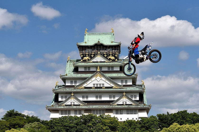 A Red Bull X-Fighter rider during training for the Red Bull X-Fighters World Tour on May 23, 2014 in Osaka, Japan.