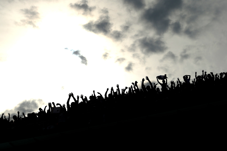 May 25, 2014. A Mexican wave at Roland Garros, 2014, Paris, France.
