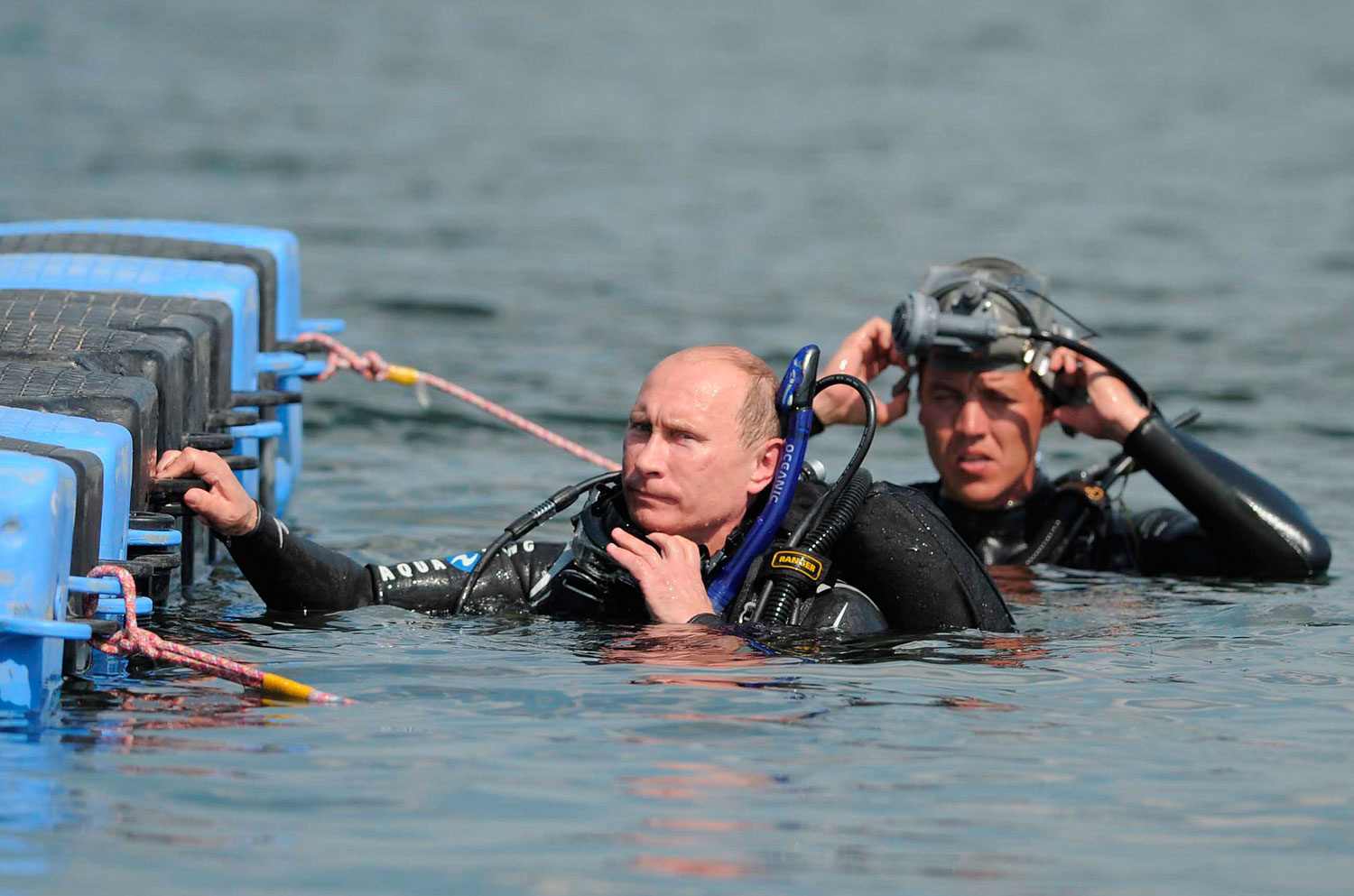 Putin, center, scuba diving at the archaeological site, Aug. 10, 2011.