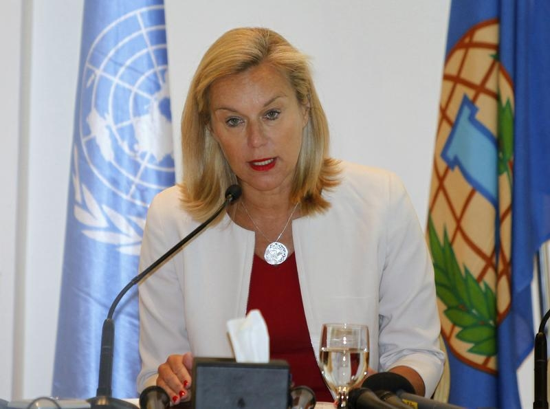 Sigrid Kaag, special coordinator of the Organization for the Prohibition of Chemical Weapons–U.N. joint mission on eliminating Syria's chemical weapons, speaks at a news conference in Damascus on April 27, 2014