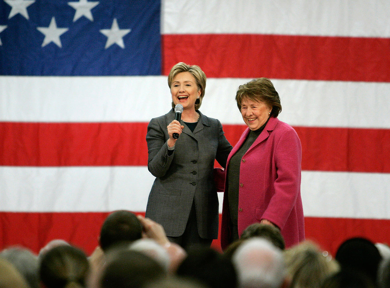 Then U.S. presidential candidate and Senator Hillary Clinton on stage with her mother Dorothy Rodham during a rally in Des Moines, Iowa, on Dec. 7, 2007
