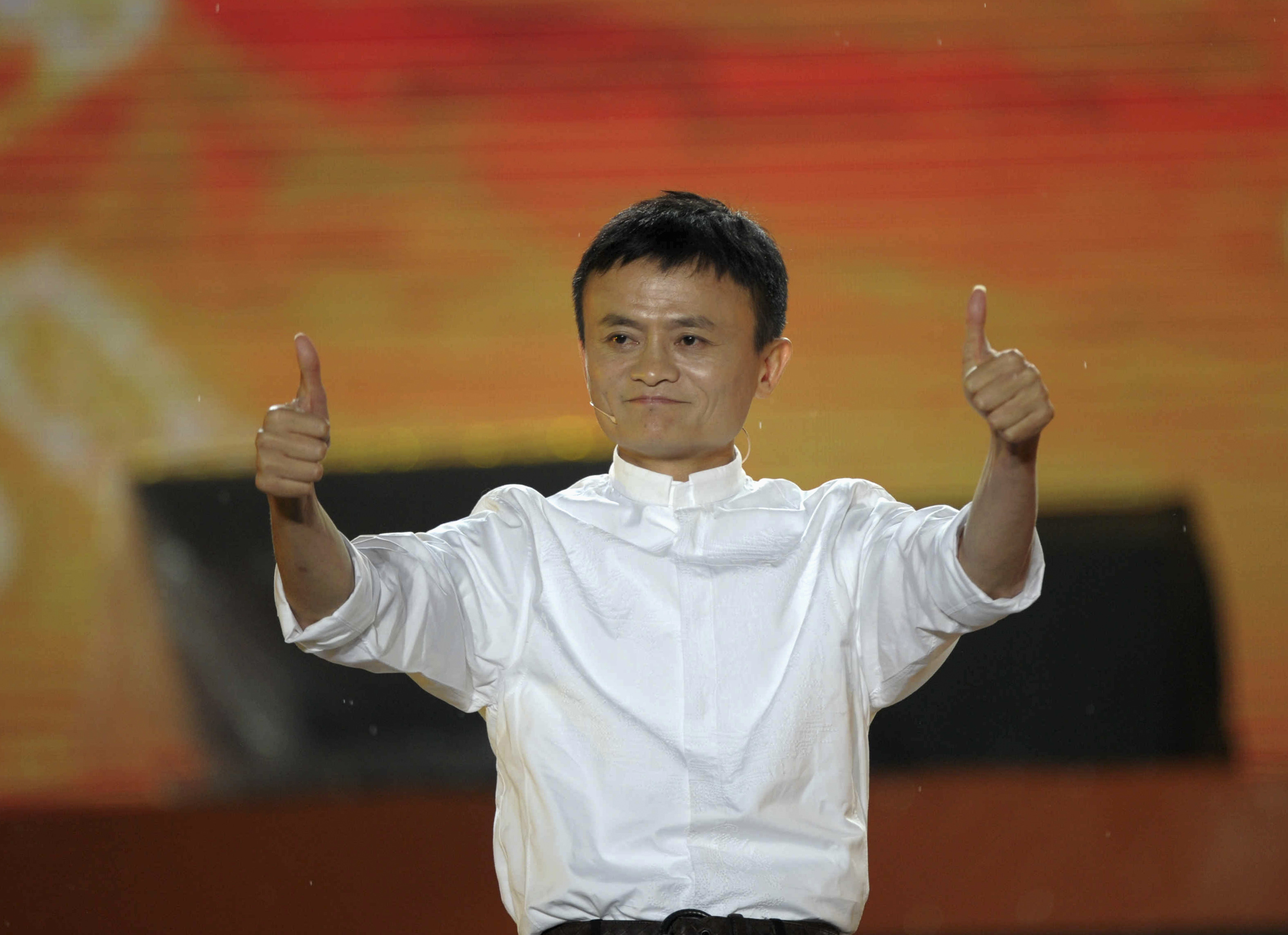 Alibaba founder Jack Ma gestures during a celebration of the 10th anniversary of Taobao Marketplace, China's largest consumer-focused e-commerce website, in Hangzhou, May 10, 2013.