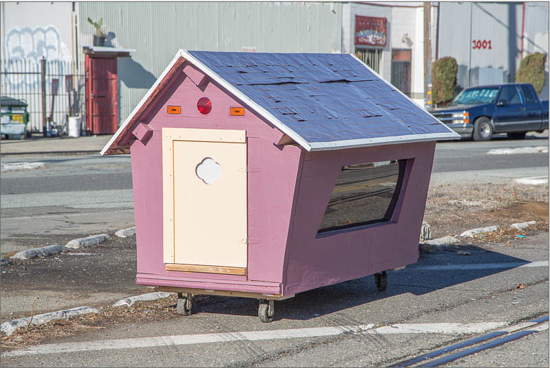 One of ten shelters on wheels built by Gregory Kloehn and the Homeless Homes Project in Oakland, California