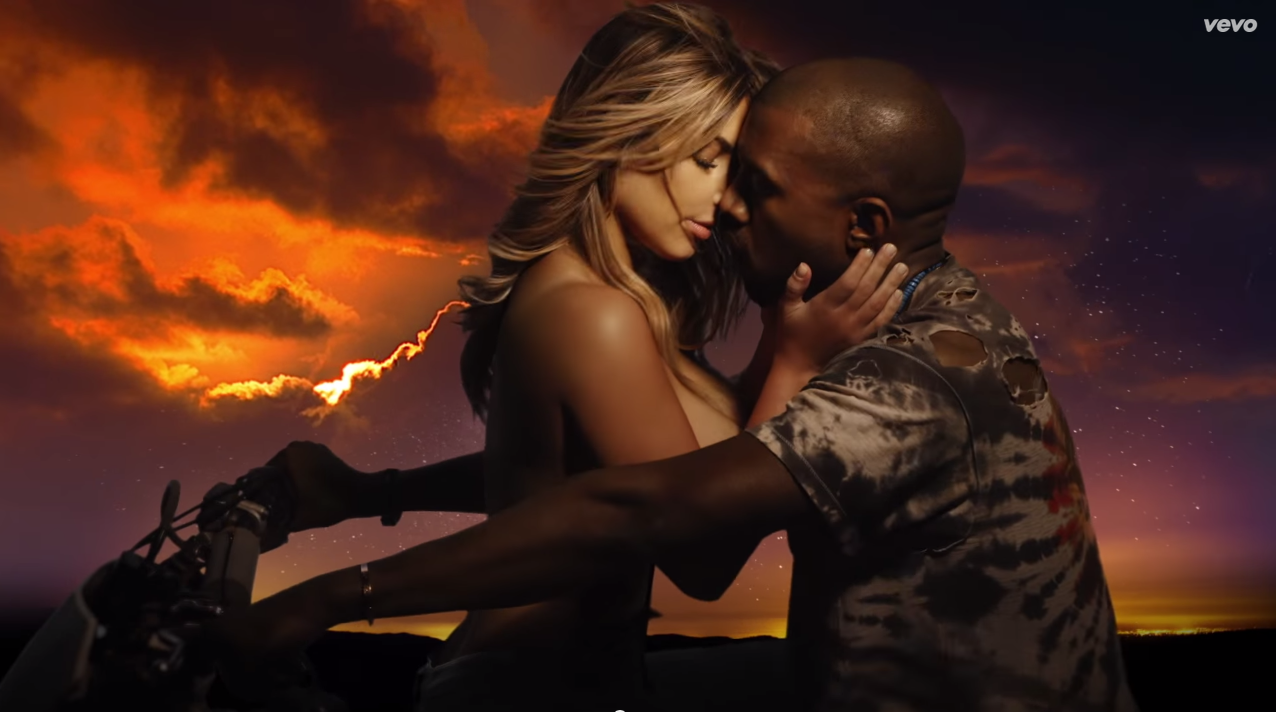 "But no engagement is finalized until you star in a supremely awkward music video together. Here's a shot for Kanye's classic-in-the-making: ""Bound 2."" We imagine this is how they will come down the aisle."