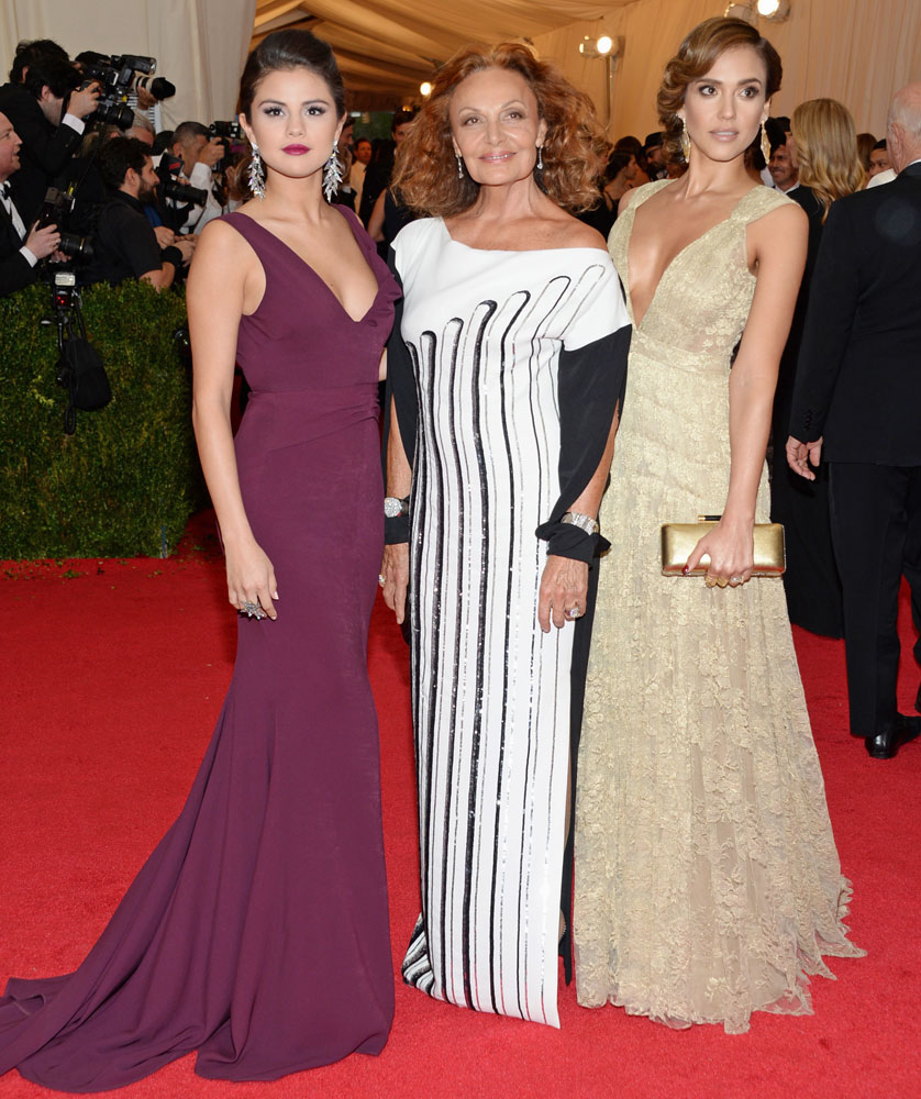 From left: Selena Gomez, Diane von Furstenberg, and Jessica Alba attend The Metropolitan Museum of Art's Costume Institute benefit gala celebrating  Charles James: Beyond Fashion  on May 5, 2014, in New York City.