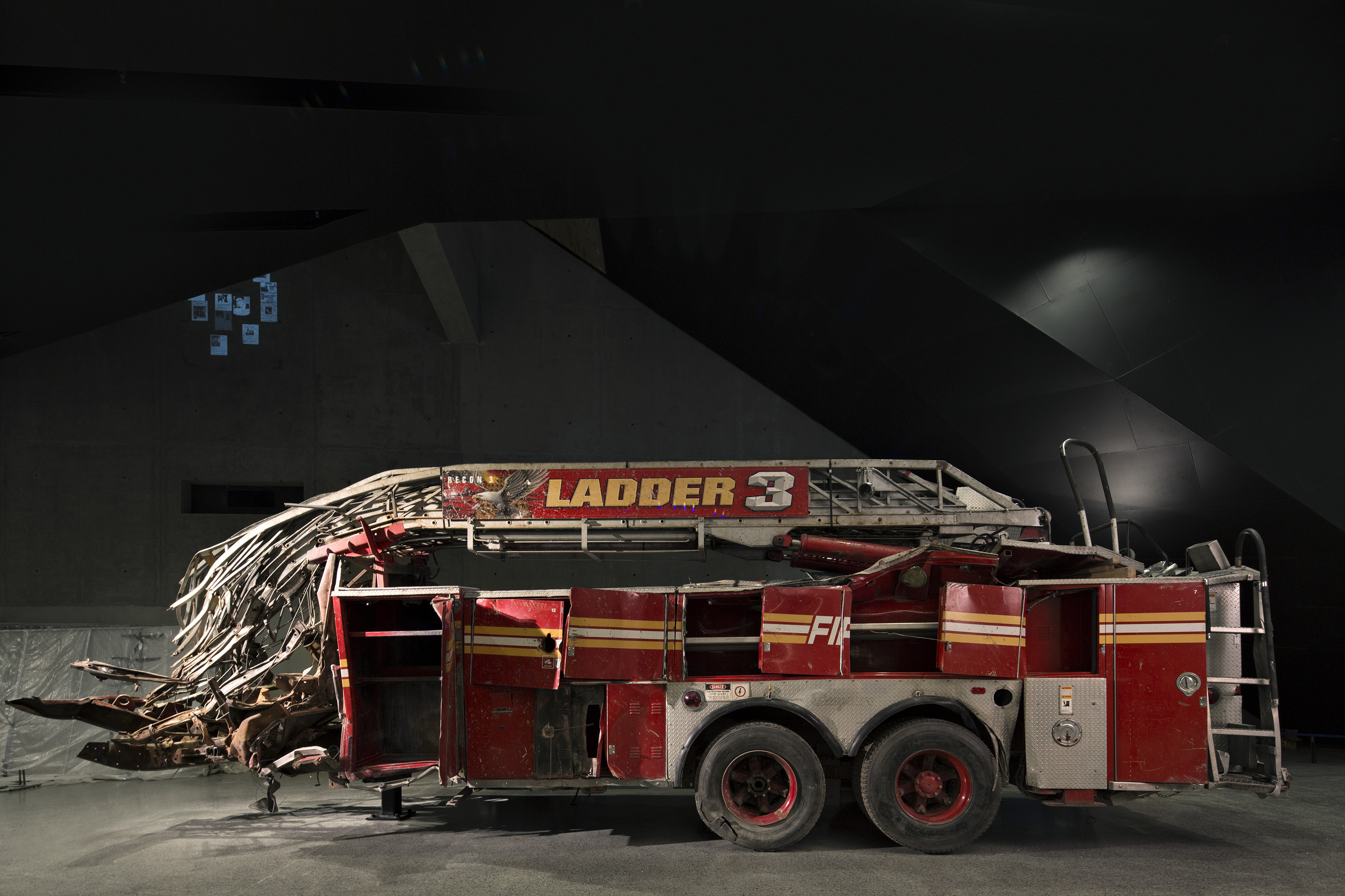 "The remains of ""Ladder 3.""  On the morning of the attacks, it carried 11 firefighters to the scene. All of them died in the collapse of the towers."