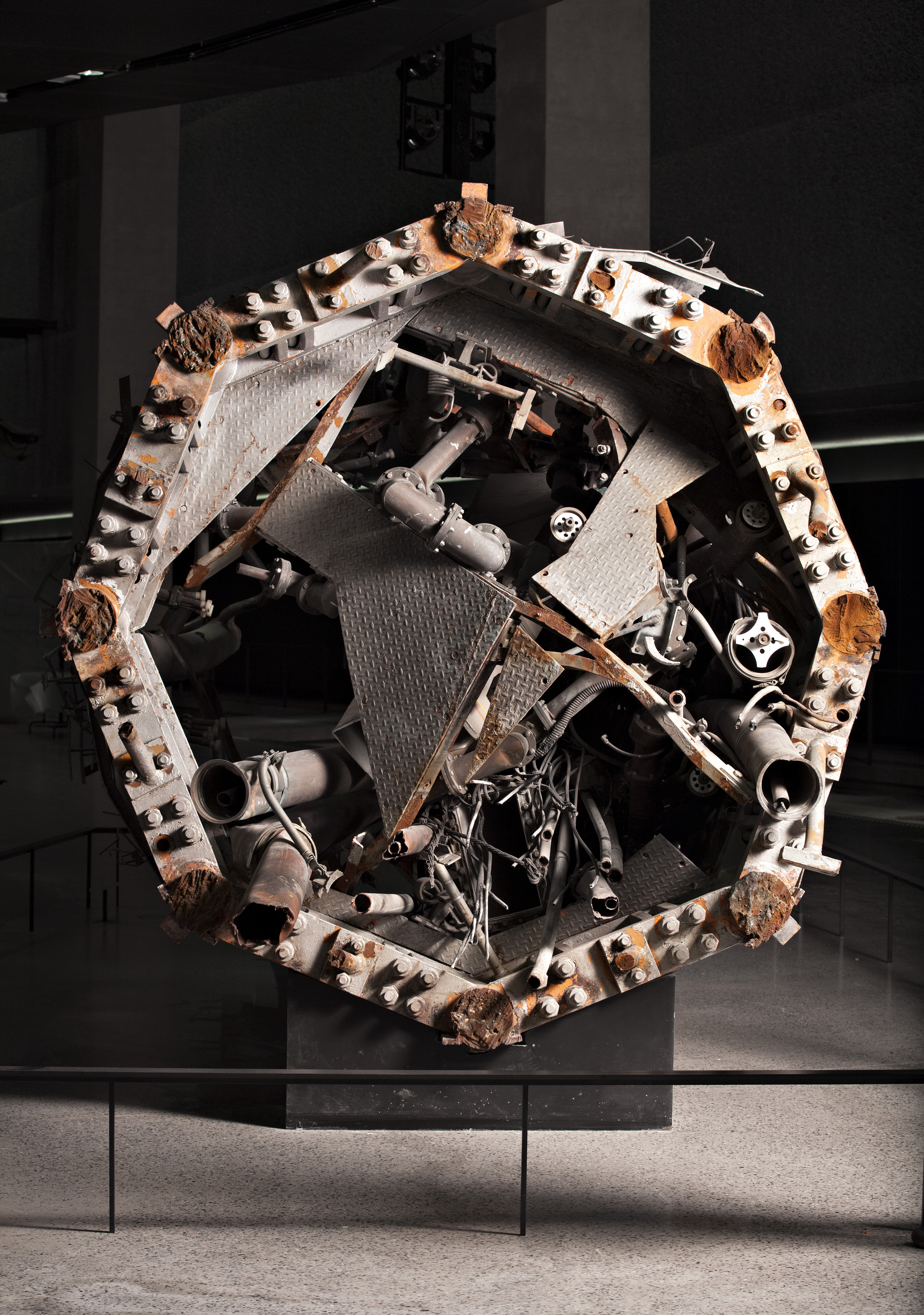 A shattered portion of the enormous broadcasting antenna that topped the north tower of the World Trade Center.