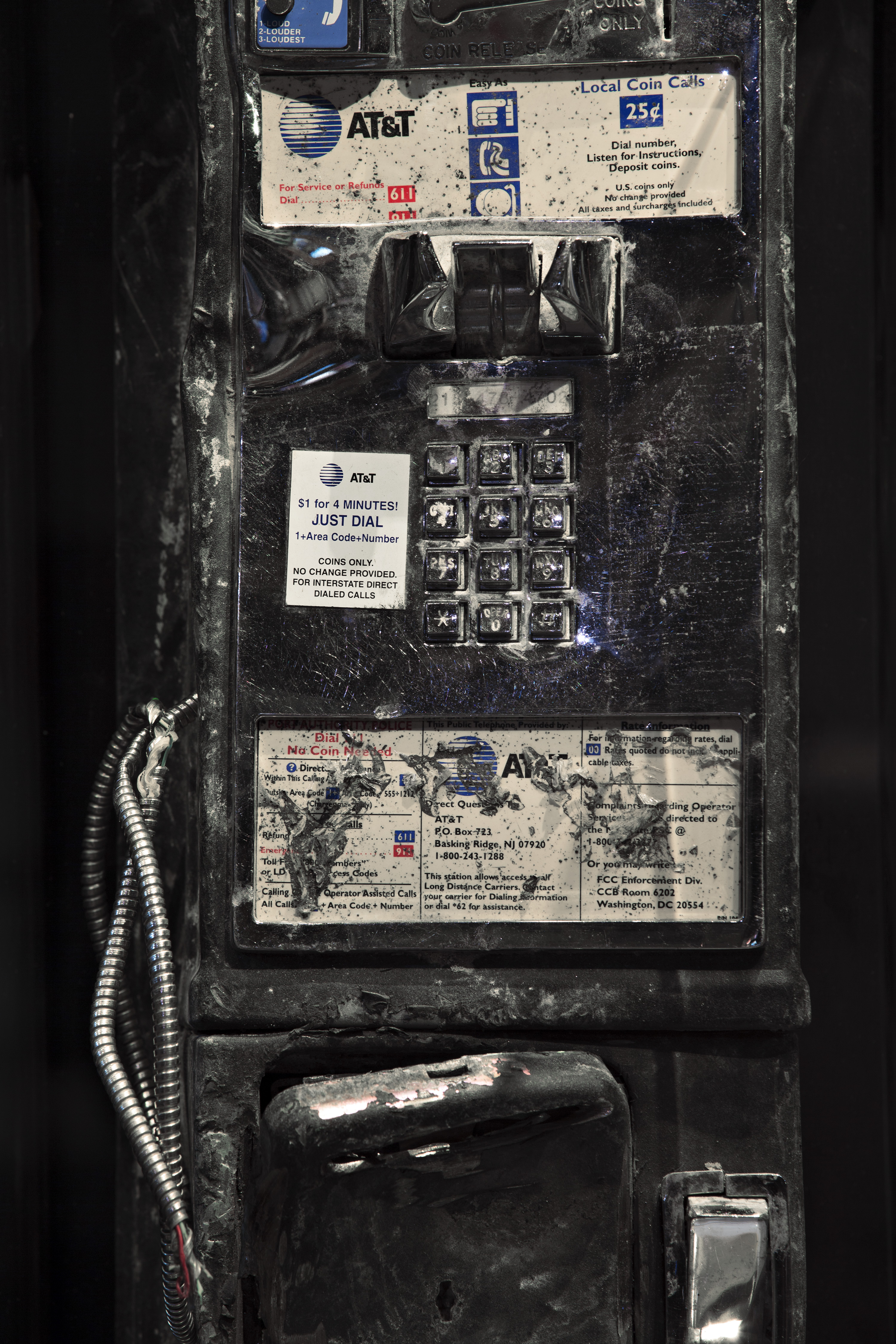 This pay phone, found in the wreckage at Ground Zero,   was once installed on the 107th floor observation deck of the south tower, more than a quarter mile above the street.