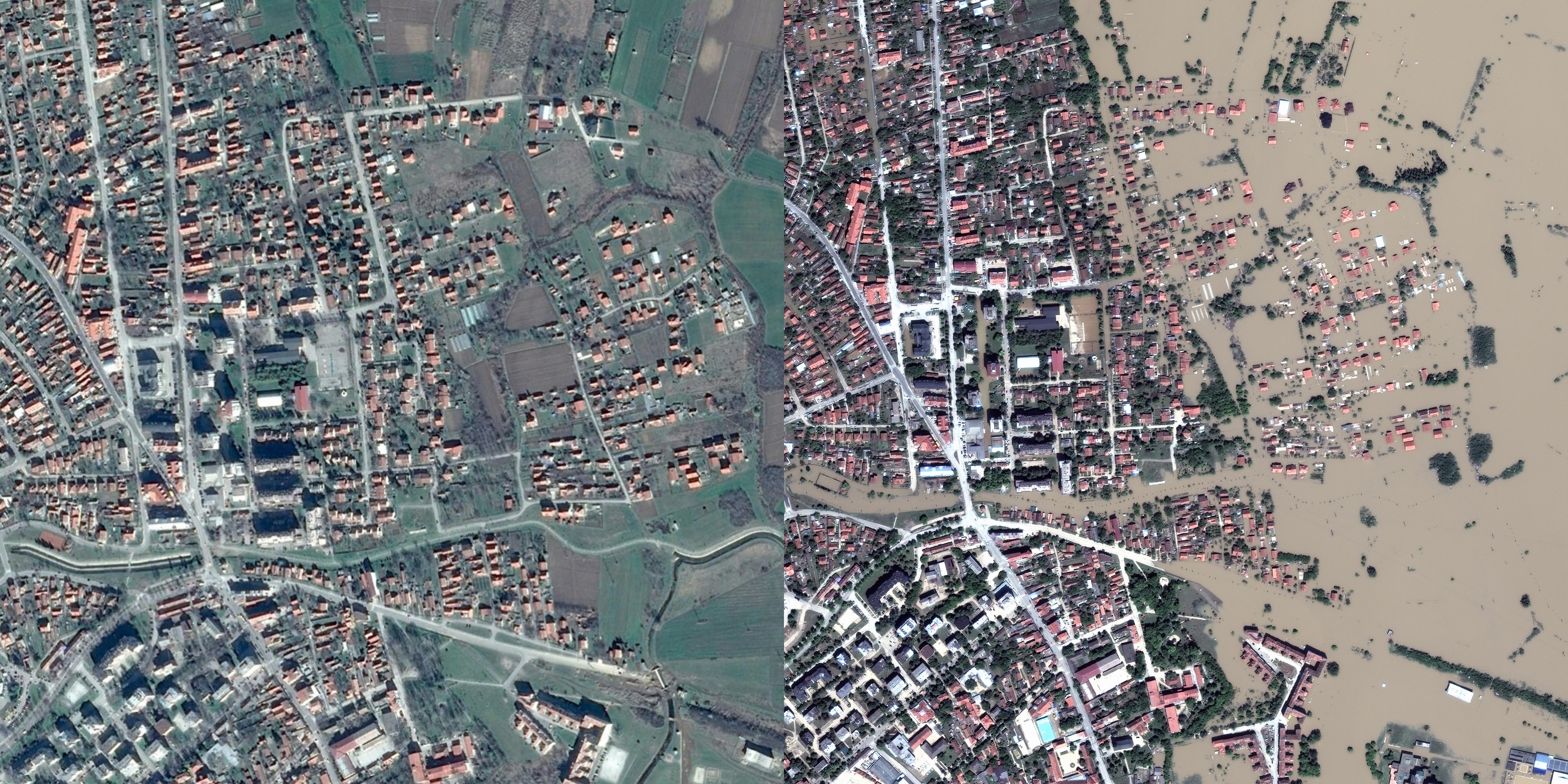 Left: Obrenovac, Serbia before the floods.                                                              Right: Obrenovac, Serbia May 21, 2014.