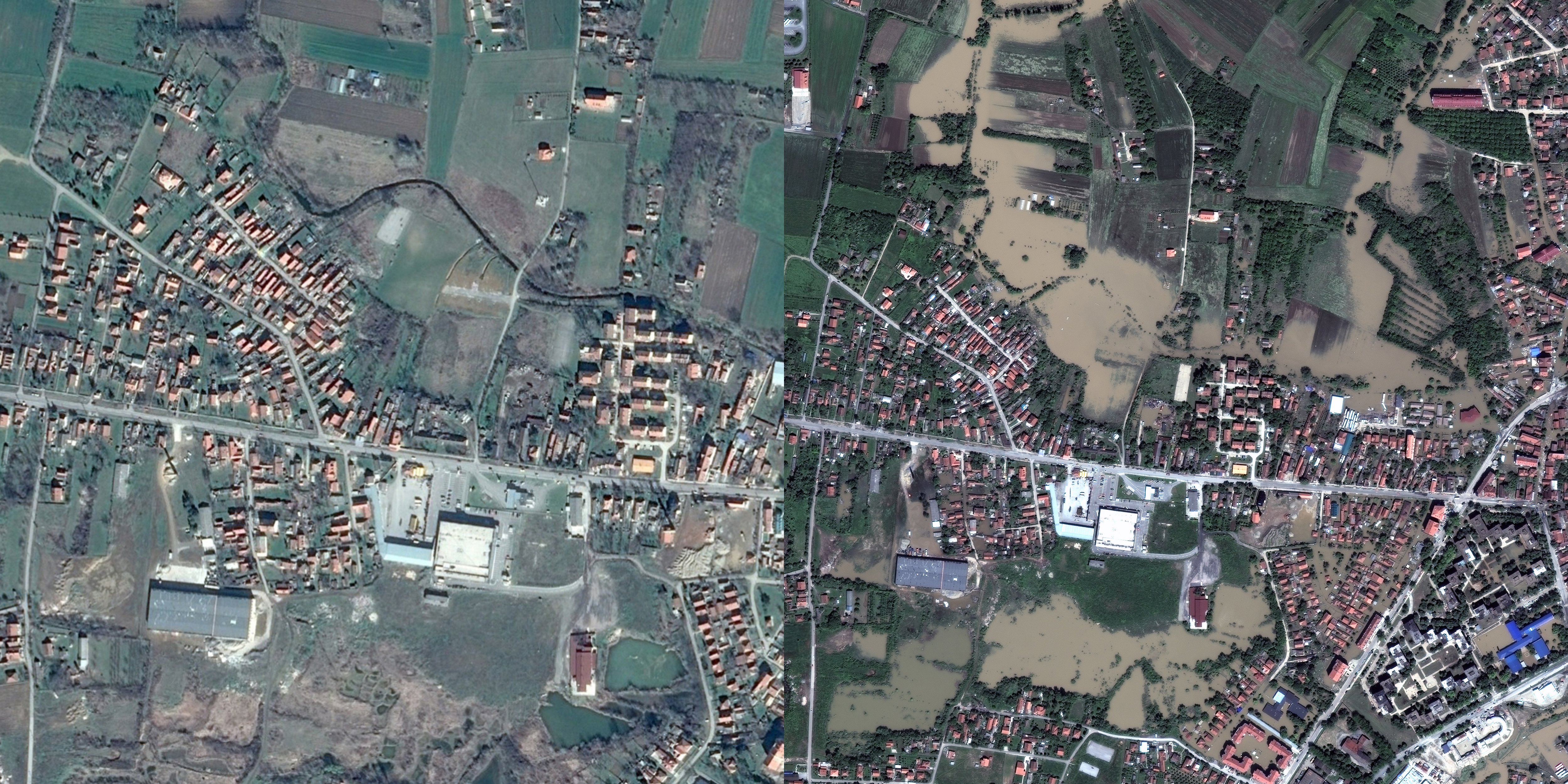 Left: Obrenovac, Serbia before floods.                               Right: Obrenovac, Serbia May 21, 2014.