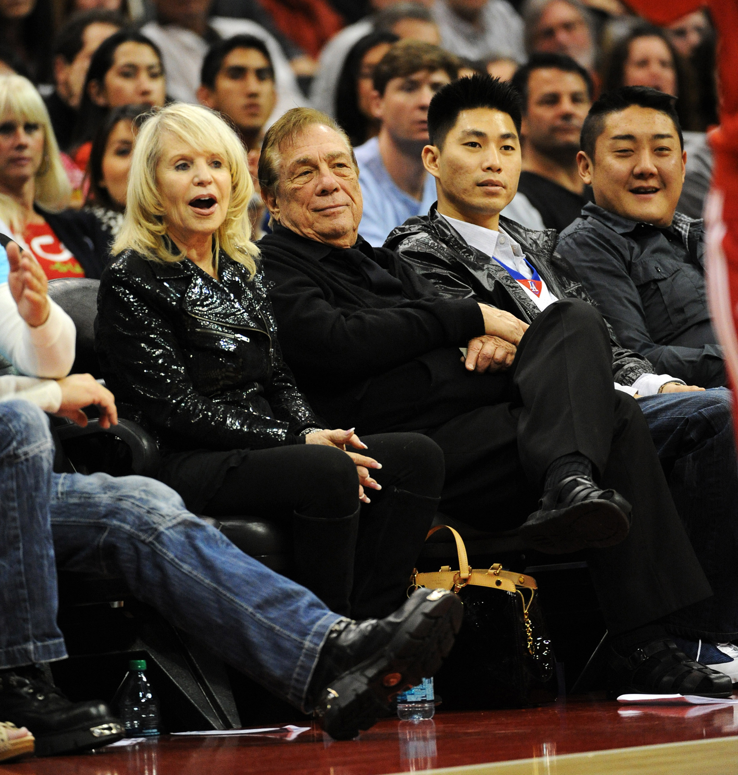 Clippers Owner Donald Sterling and wife Shelly Sterling watch as the The Los Angeles Clippers host the Milwaukee Bucks at the Staples Center in Los Angeles, CA.