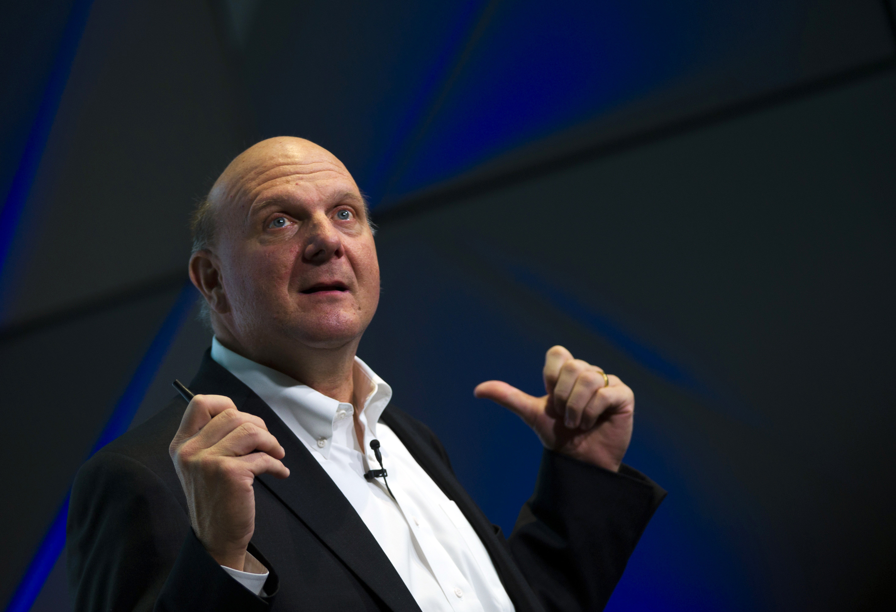 Former Microsoft CEO Steve Ballmer speaks during the opening of the Microsoft Ventures Berlin Accelerator on November 7, 2013 in Berlin.