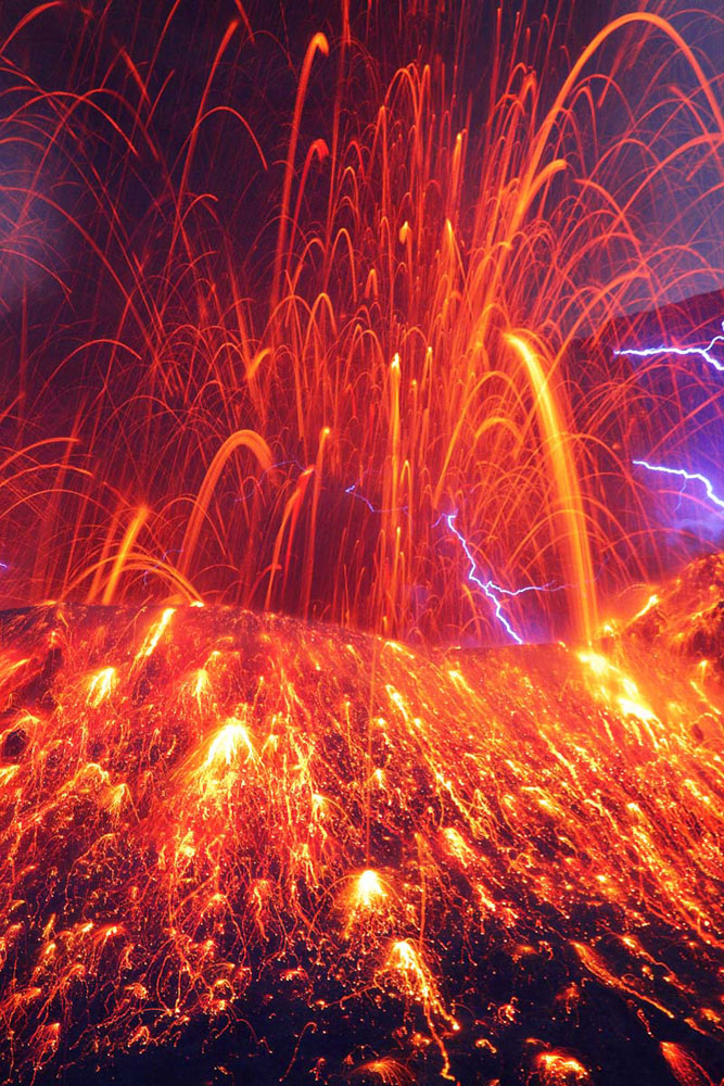 Sakurajima with volcanic lightning in Kagoshima Prefecture in Kyushu, Japan.