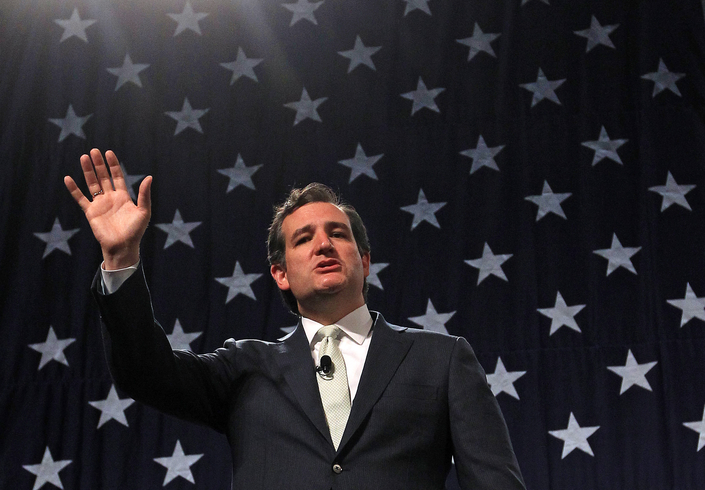 Republican U.S. Sen. Ted Cruz of Texas  addresses a crowd during a rally at the Western Republican Leadership Conference on April 25, 2014, in Sandy, Utah.