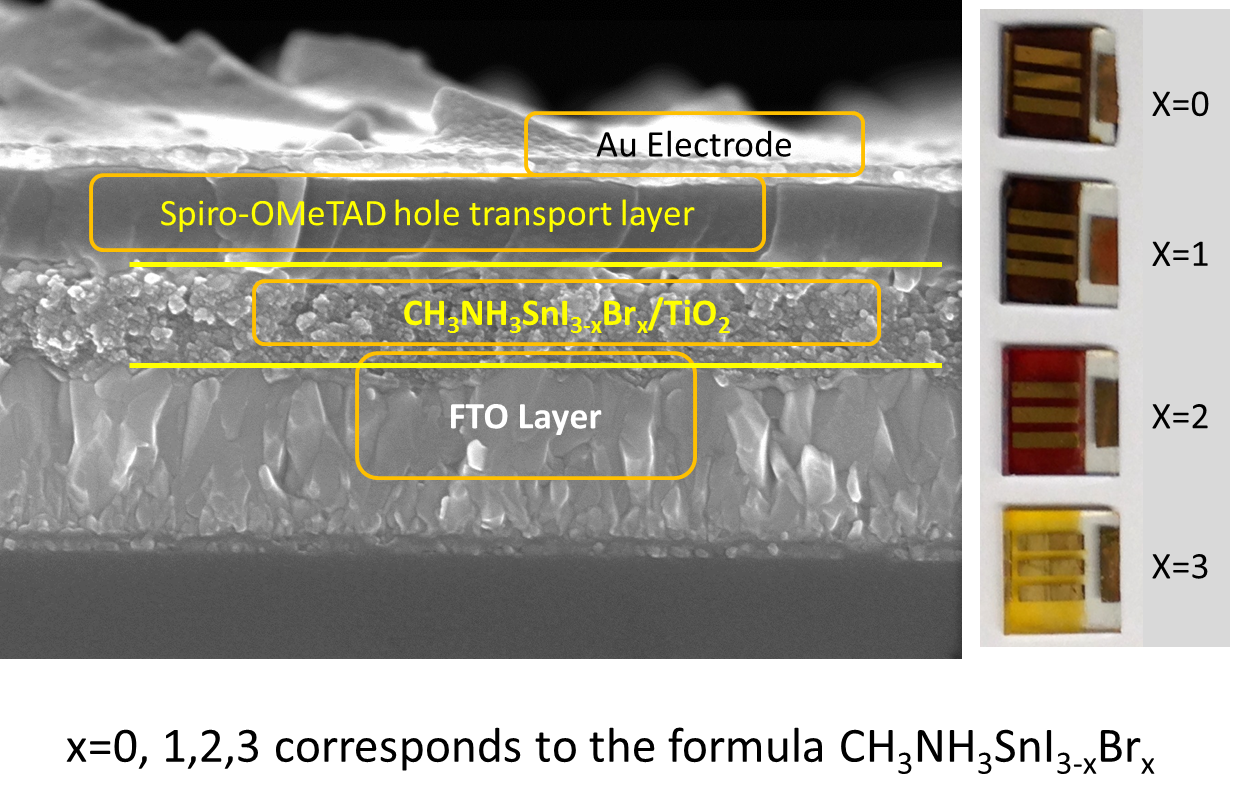 A cross-section of the tin-based solar cell -- the perovskite layer, which looks a bit like granulated sugar, is in the middle.