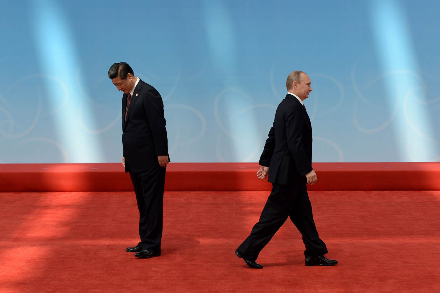 May 21, 2014.                               Russian President Vladimir Putin (R) leaves after being greeted by Chinese President Xi Jinping before the opening ceremony at the Expo Center at the fourth Conference on Interaction and Confidence Building Measures in Asia (CICA) summit in Shanghai.
