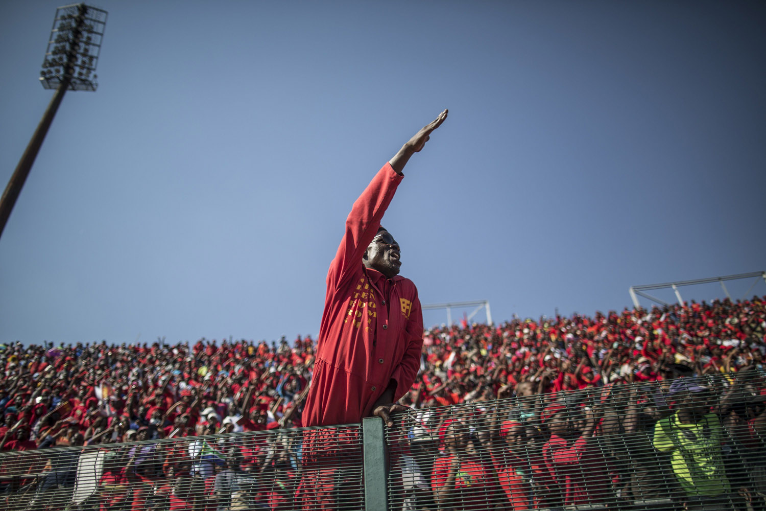 May 4, 2014. A supporter of South Africa's Economic Freedom Fighters (EFF) reacts during the final EFF electoral campaign rally in Atteridgeville (Pretoria).