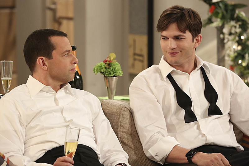 From left: Jon Cryer as Alan Harper and Ashton Kutcher as Walden Schmidt  in CBS's Two and a Half Men