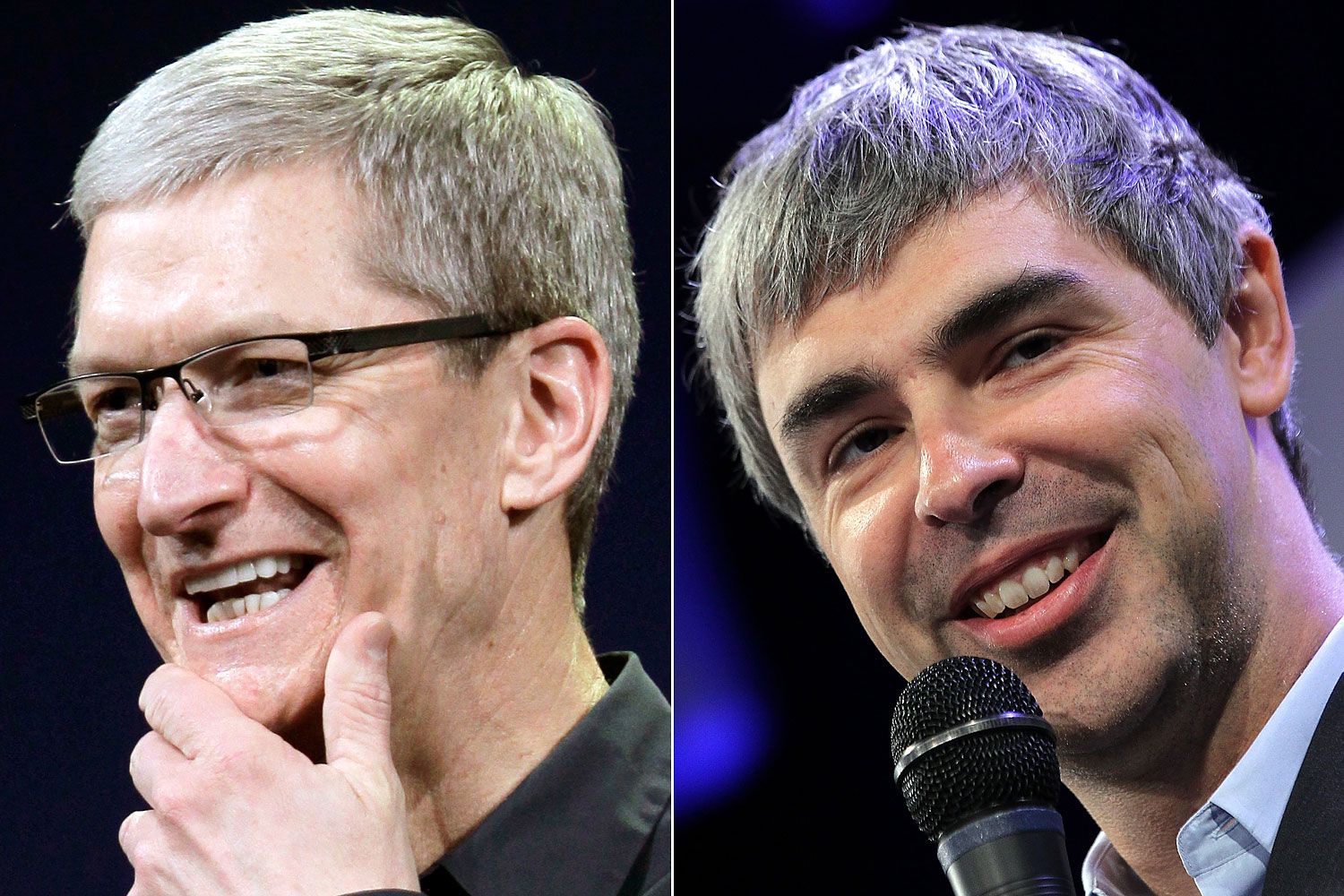 Apple CEO Tim Cook and Google CEO Larry Page.