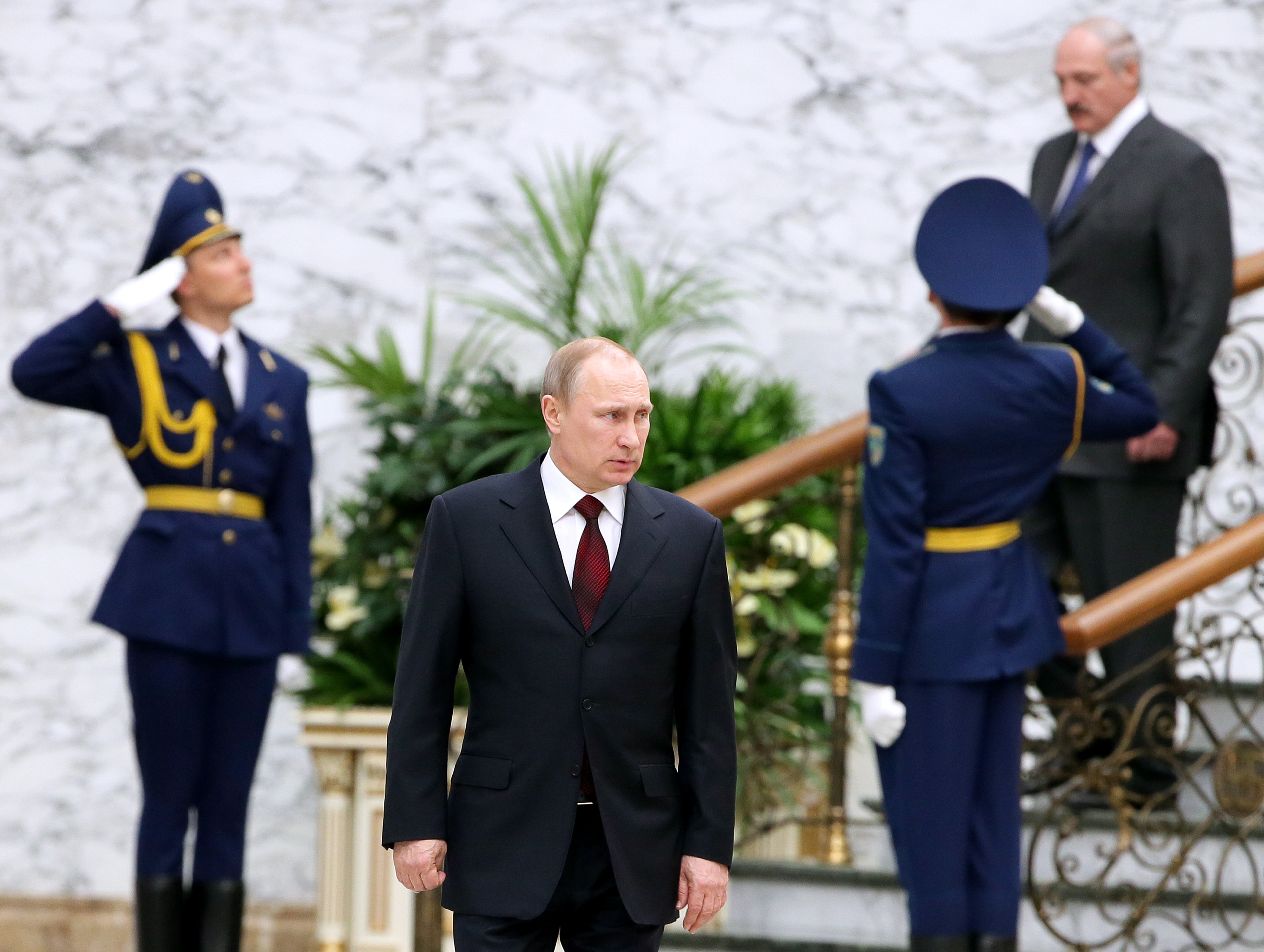 President Vladimir Putin of Russia seen after a Supreme Eurasian Economic Council meeting in Minsk, Belarus on April 29, 2014.