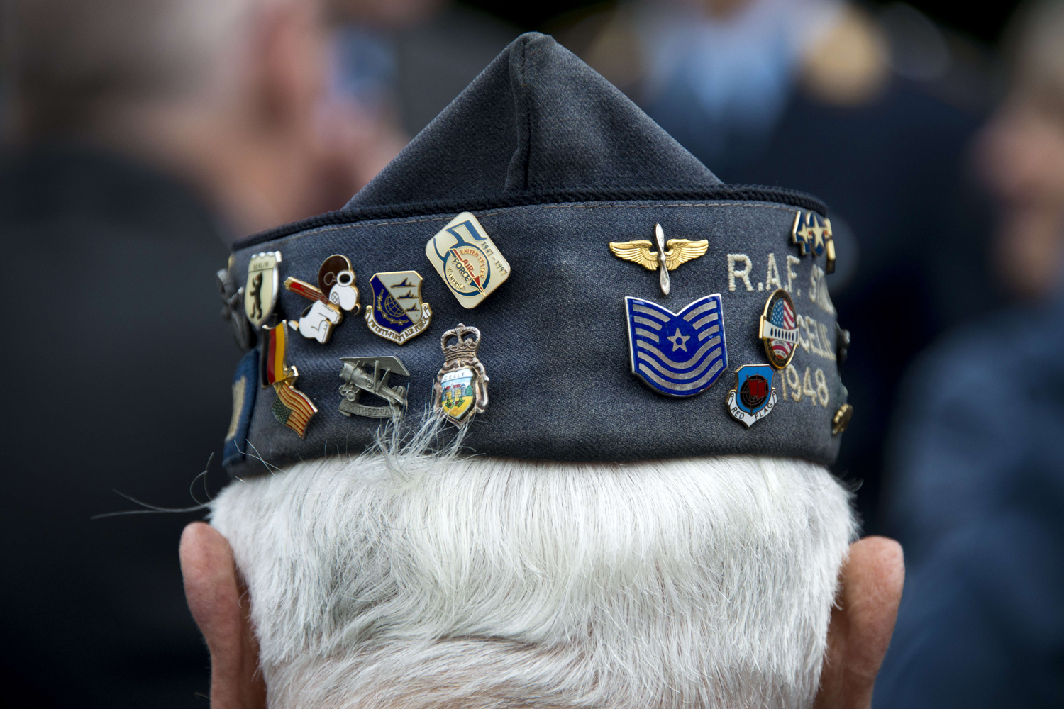 May 12, 2014. The hat of former US Air Force veteran Johnny Macia is pictured during a wreath laying ceremony  at the Berlin Airlift memorial outside Tempelhof airport in Berlin, commemorating the airlift during the Cold War Berlin blockade.