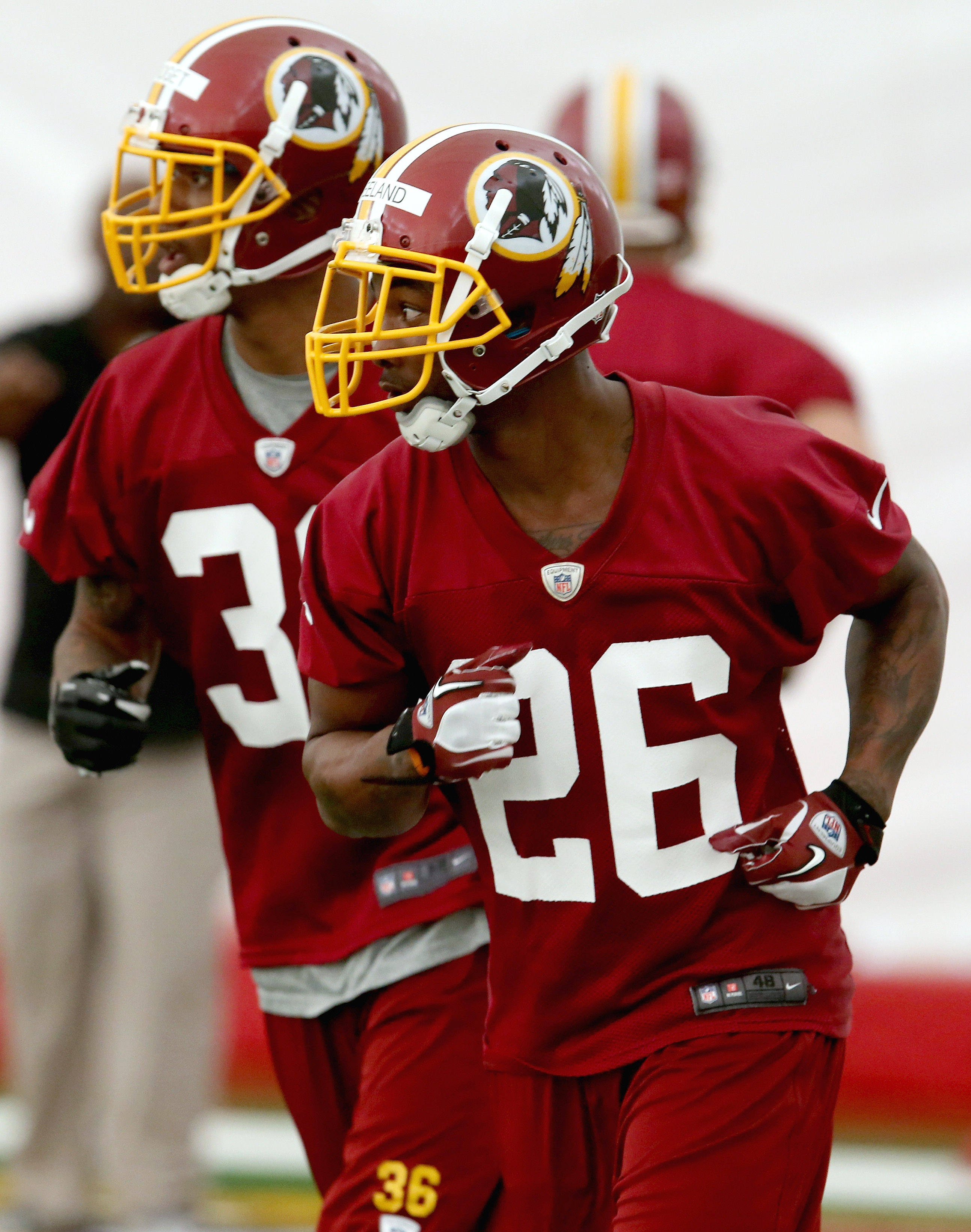 Rookie Redskin Bashaud Breeland participates in the Redskins rookie mini camp at Redskins Park in Ashburn, Virginia on May 17, 2014.