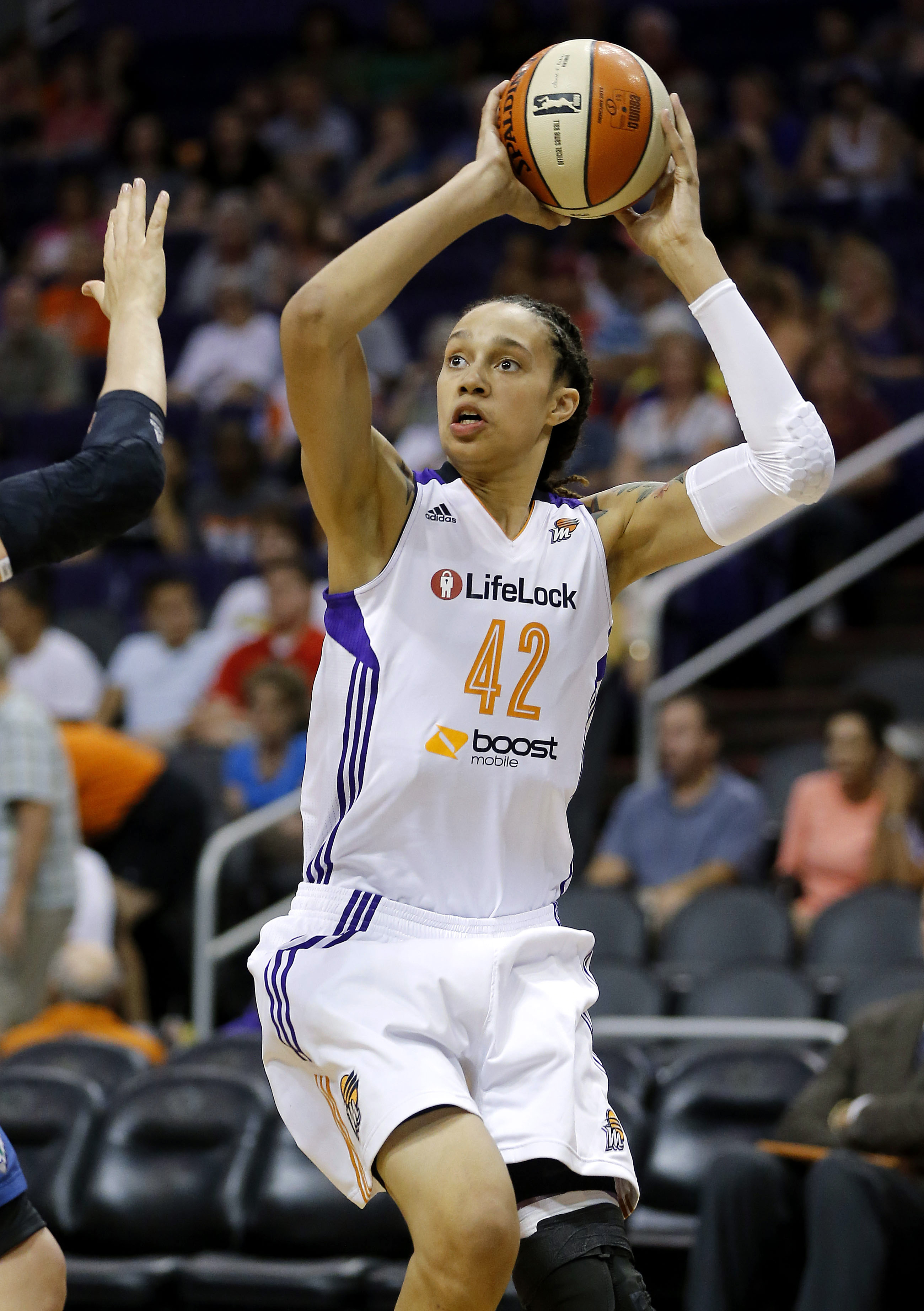 Phoenix Mercury center Brittney Griner shoots against the Minnesota Lynx during a game in Phoenix in 2013. Griner, who is one of a handful of WNBA athletes who have publicly identified themselves as lesbian, was happy the league was embracing the community.