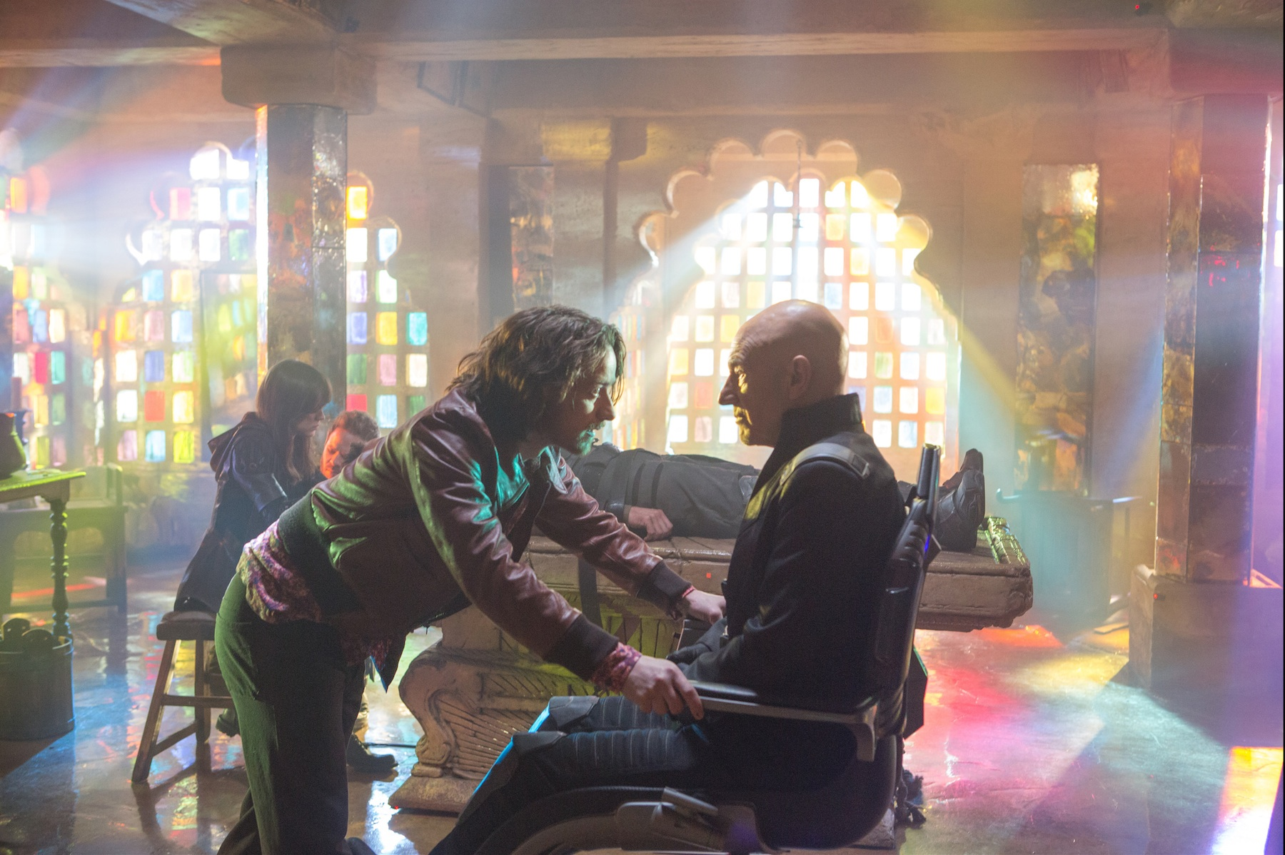 James McAvoy, left, as Professor X, with Patrick Stewart, right, as Professor X